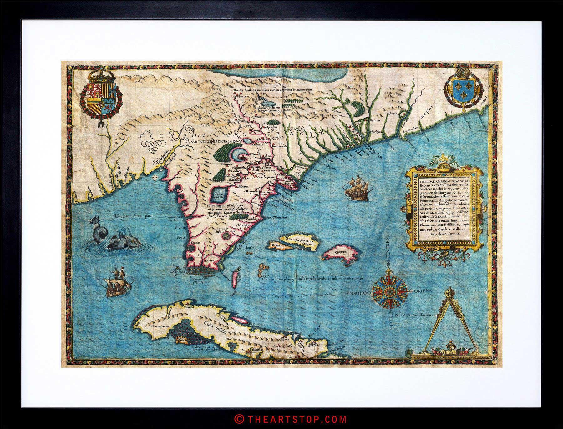 Map Antique De Bry Le Moyne Florida Cuba Framed Print F12X3967 | Ebay - Framed Map Of Florida