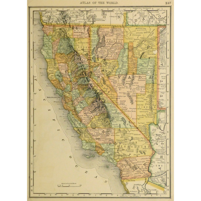 Map - California And Nevada, 1887 - Mapsandart - Original Art - Antique Map Of California