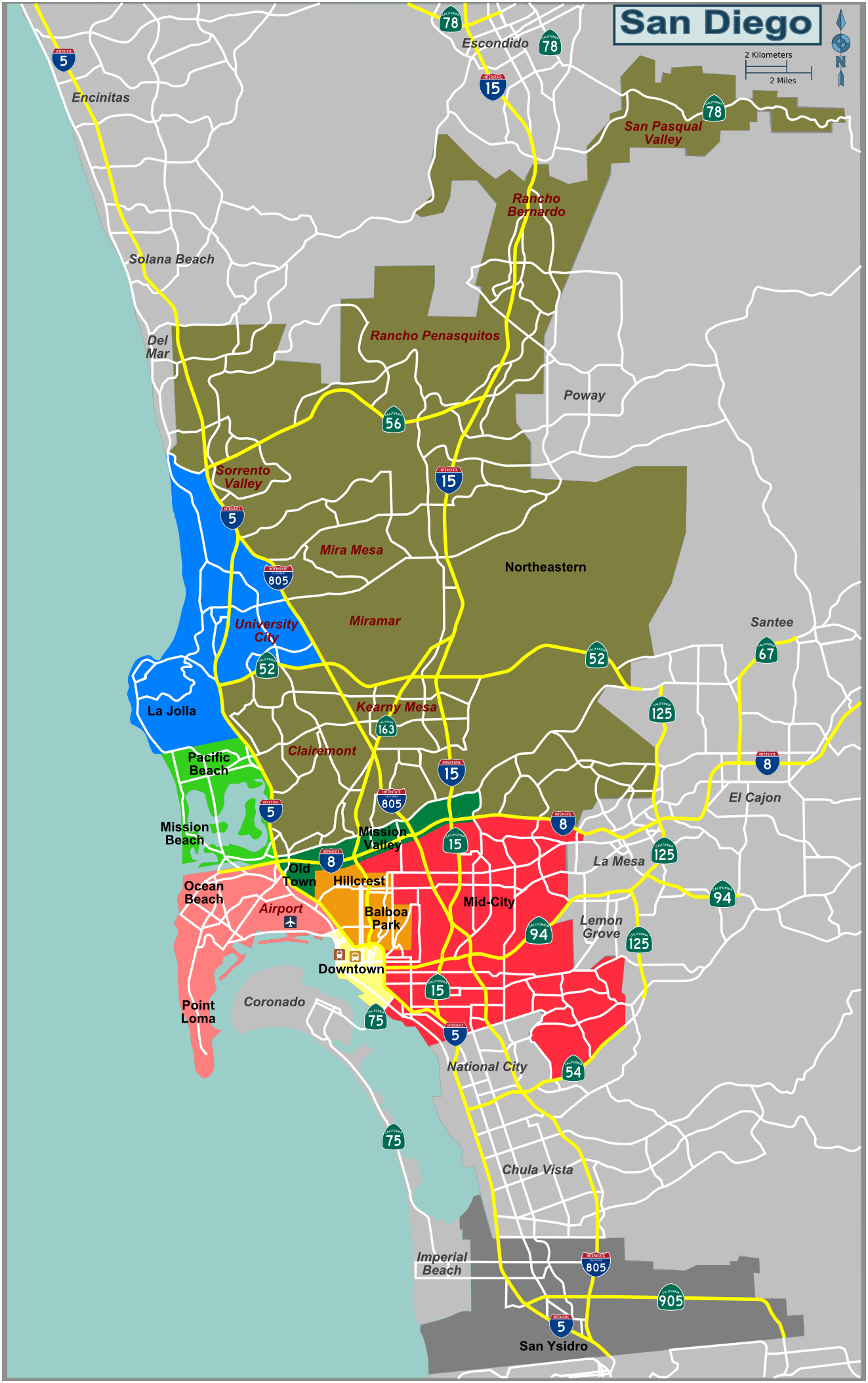 Map Defining Major Districts Of San Diego - City Map Of San Diego California