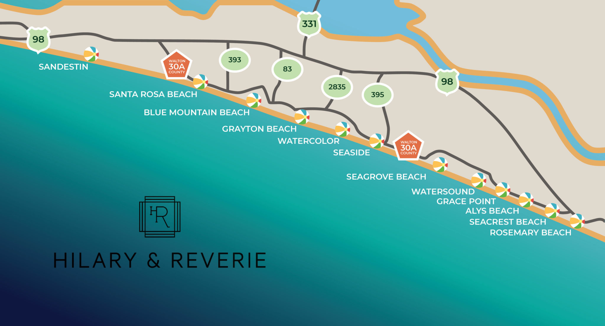 Map • Hilary & Reverie - Watersound Beach Florida Map
