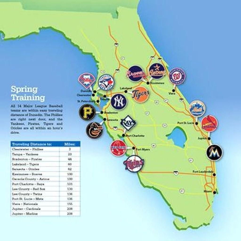 Map Florida Baseball Spring Training Sites Map - Map Of Spring Training Sites In Florida