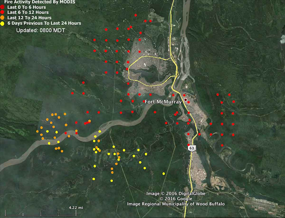 Map Fort Mcmurray Fire 220 Am 5-3-2016 - Wildfire Today - Current Texas Wildfires Map