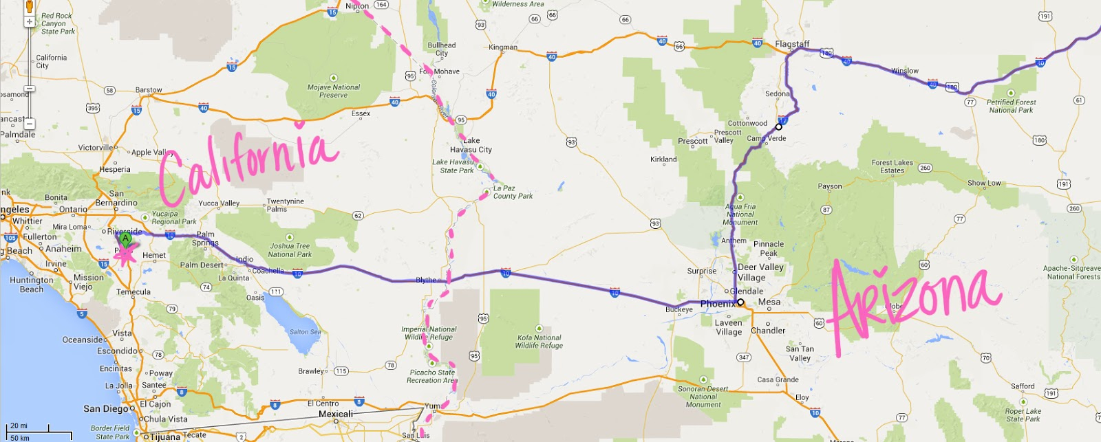 Map From Texas To California - Klipy - Road Map From California To Texas