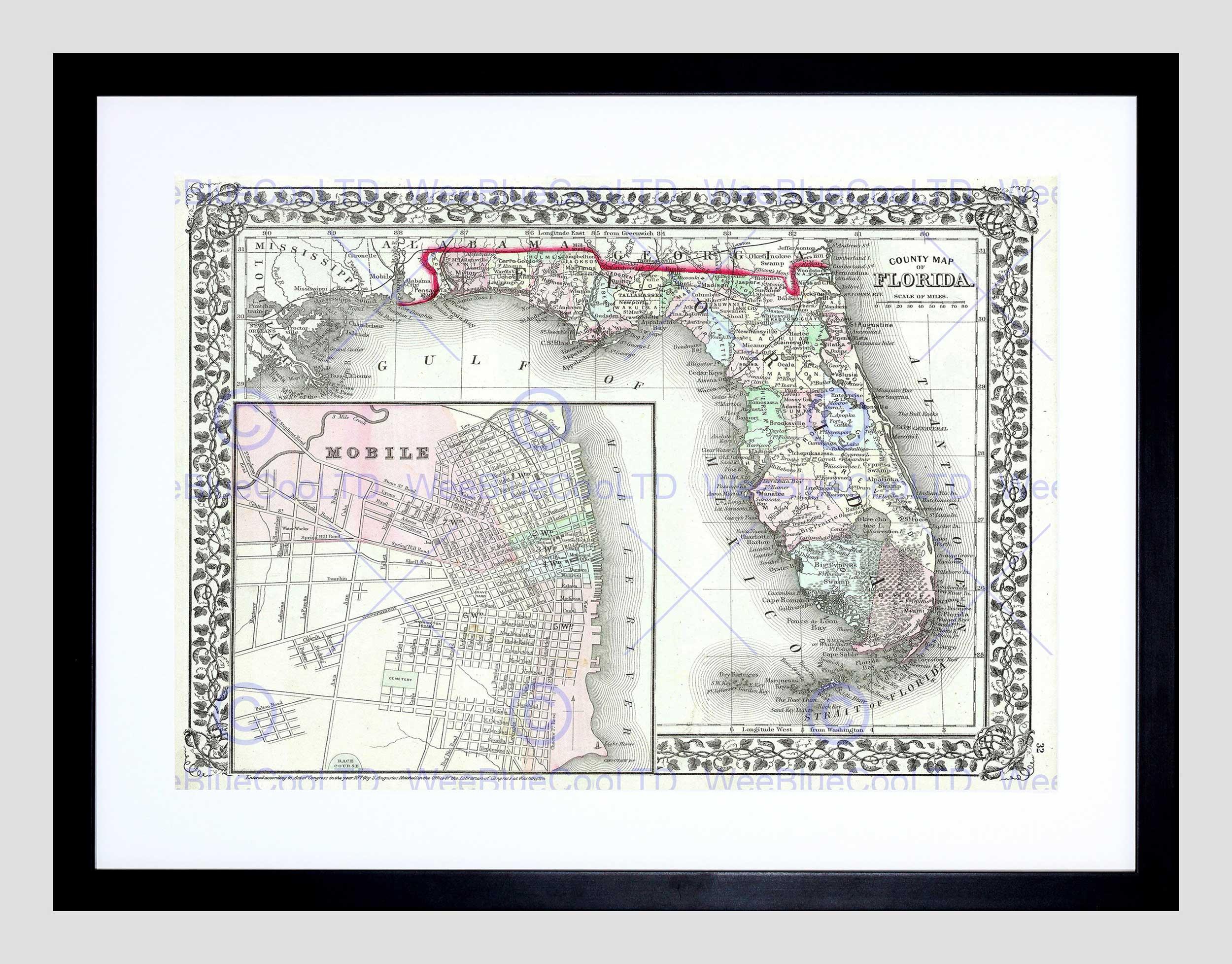 Map Illustrated Antique Mitchell Florida Framed Art Print B12X4966 - Framed Map Of Florida