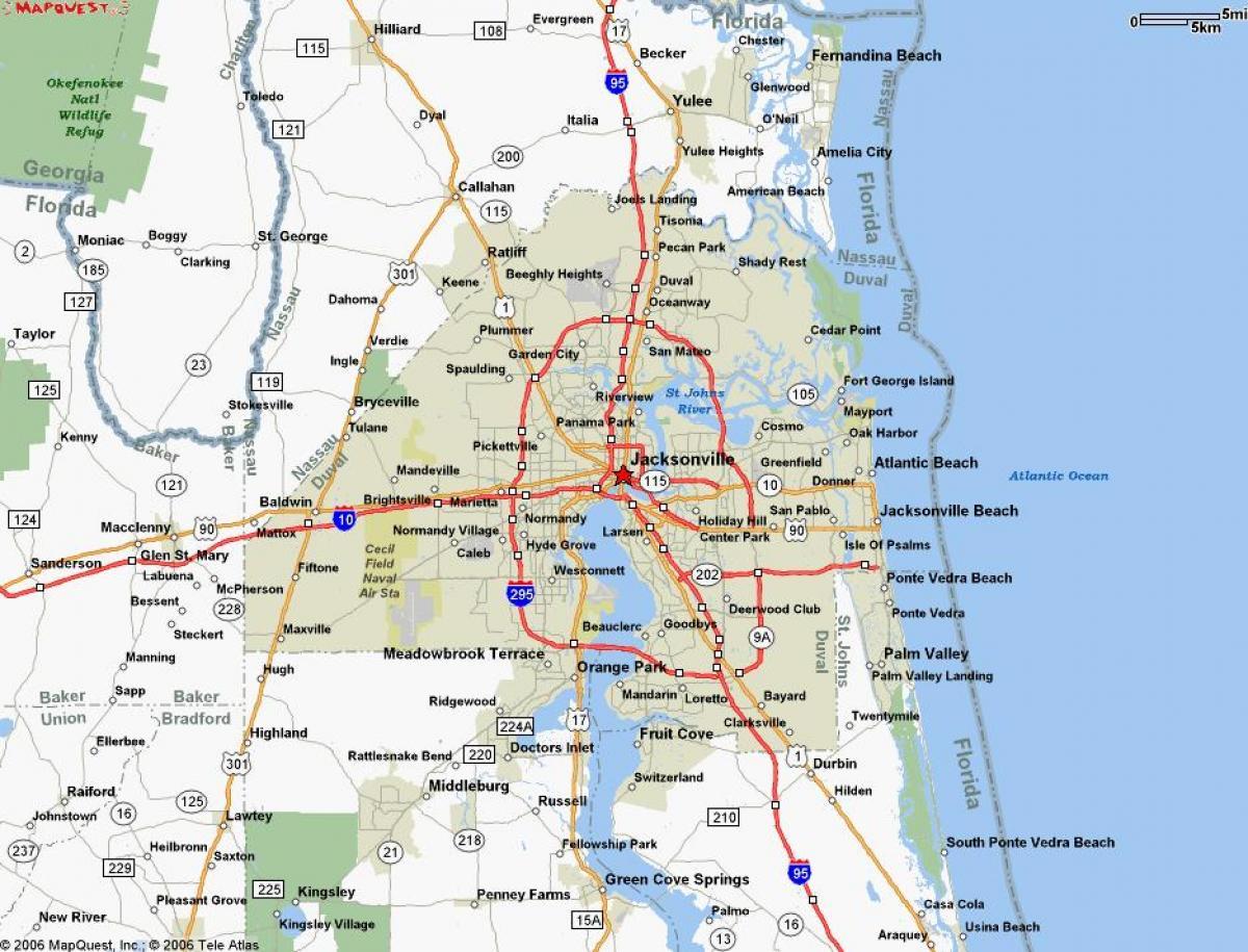 Map Jacksonville Fl - Jacksonville Florida On A Map (Florida - Usa) - Map To Jacksonville Florida