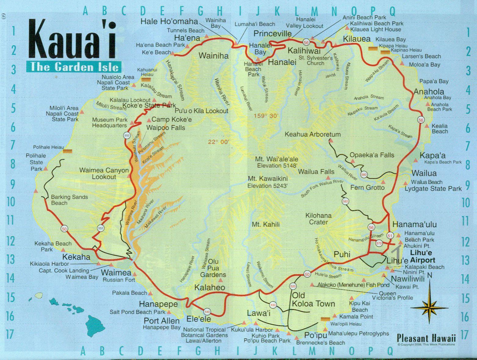 Map Kauai Printable Road - Printable Road Map Of Kauai