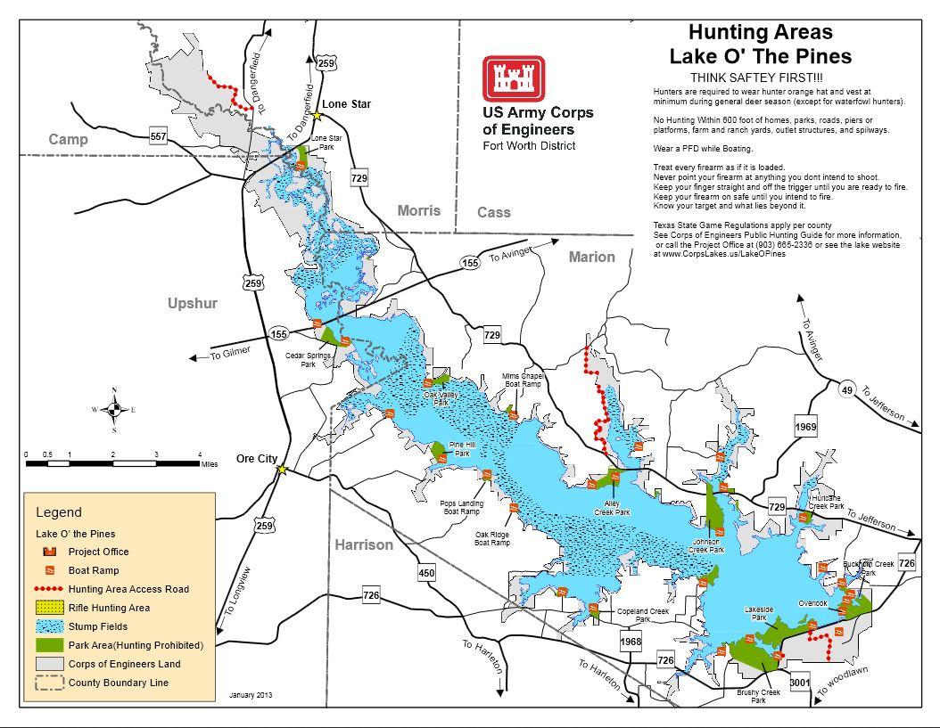 Map | Lake O' The Pines - Texas Fishing Maps Free