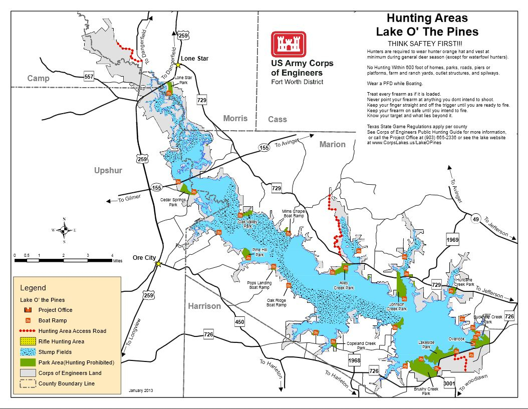 Map | Lake O' The Pines - Texas Lakes Map