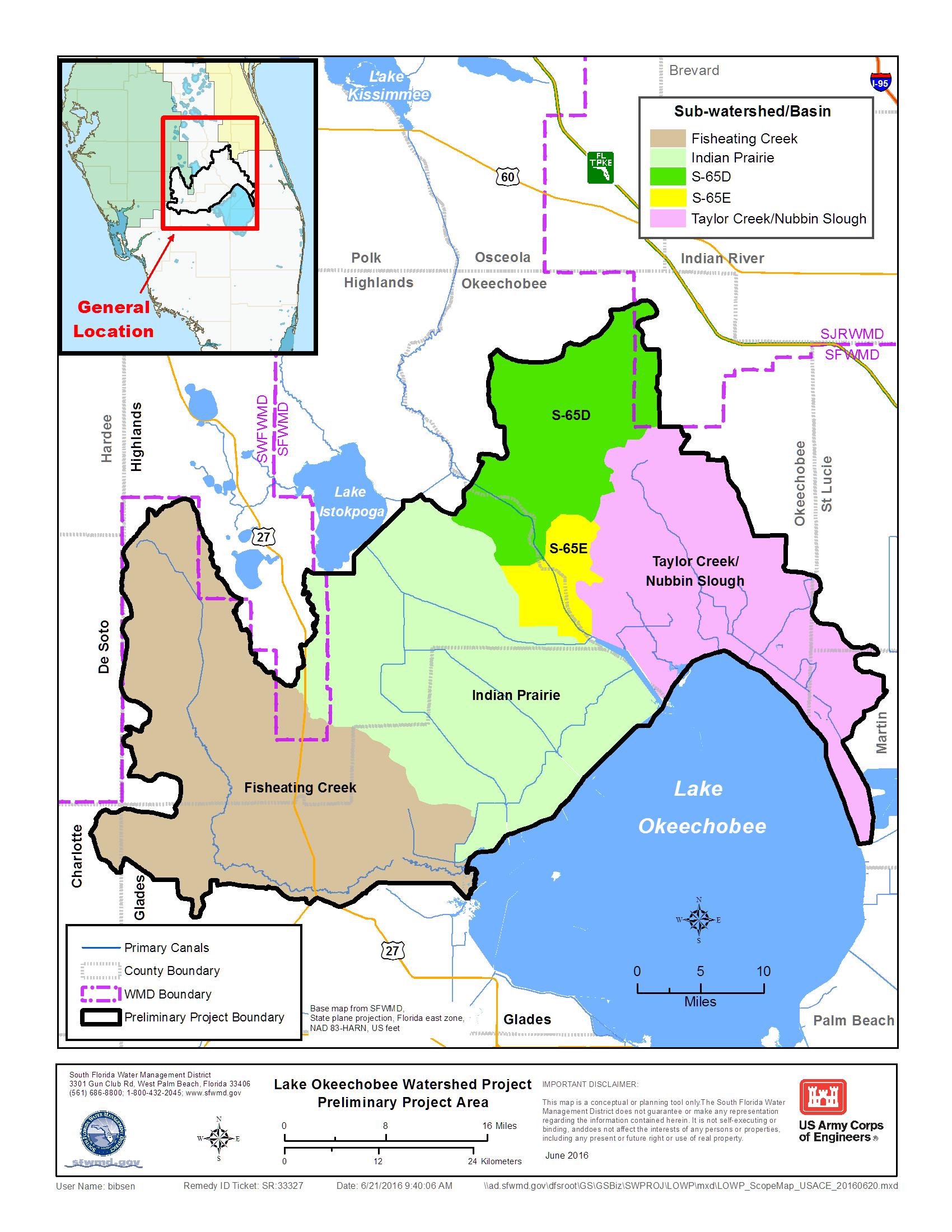 Map: Lake Okeechobee Watershed Restoration Project | South Florida - Florida Watershed Map