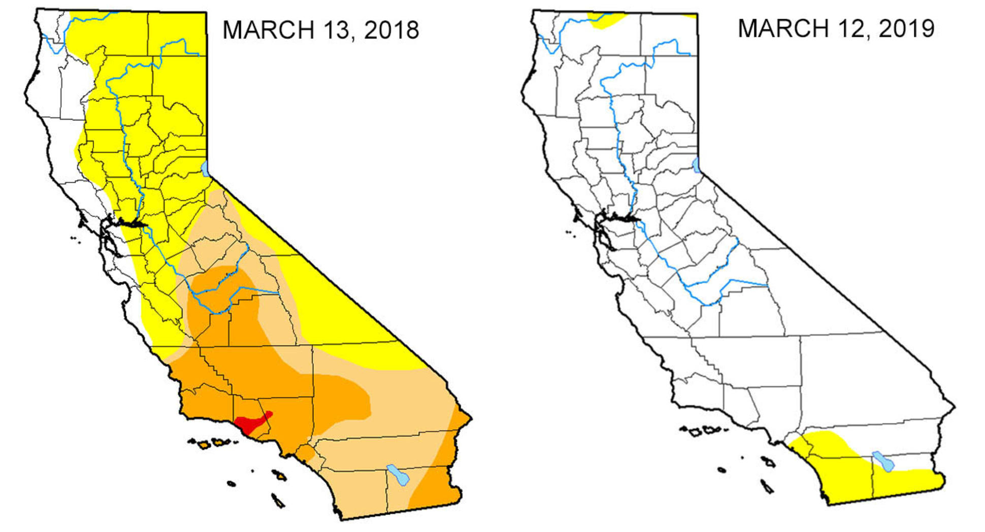 Map: Look At The Drought Difference In California From One Year Ago - California Water Rights Map