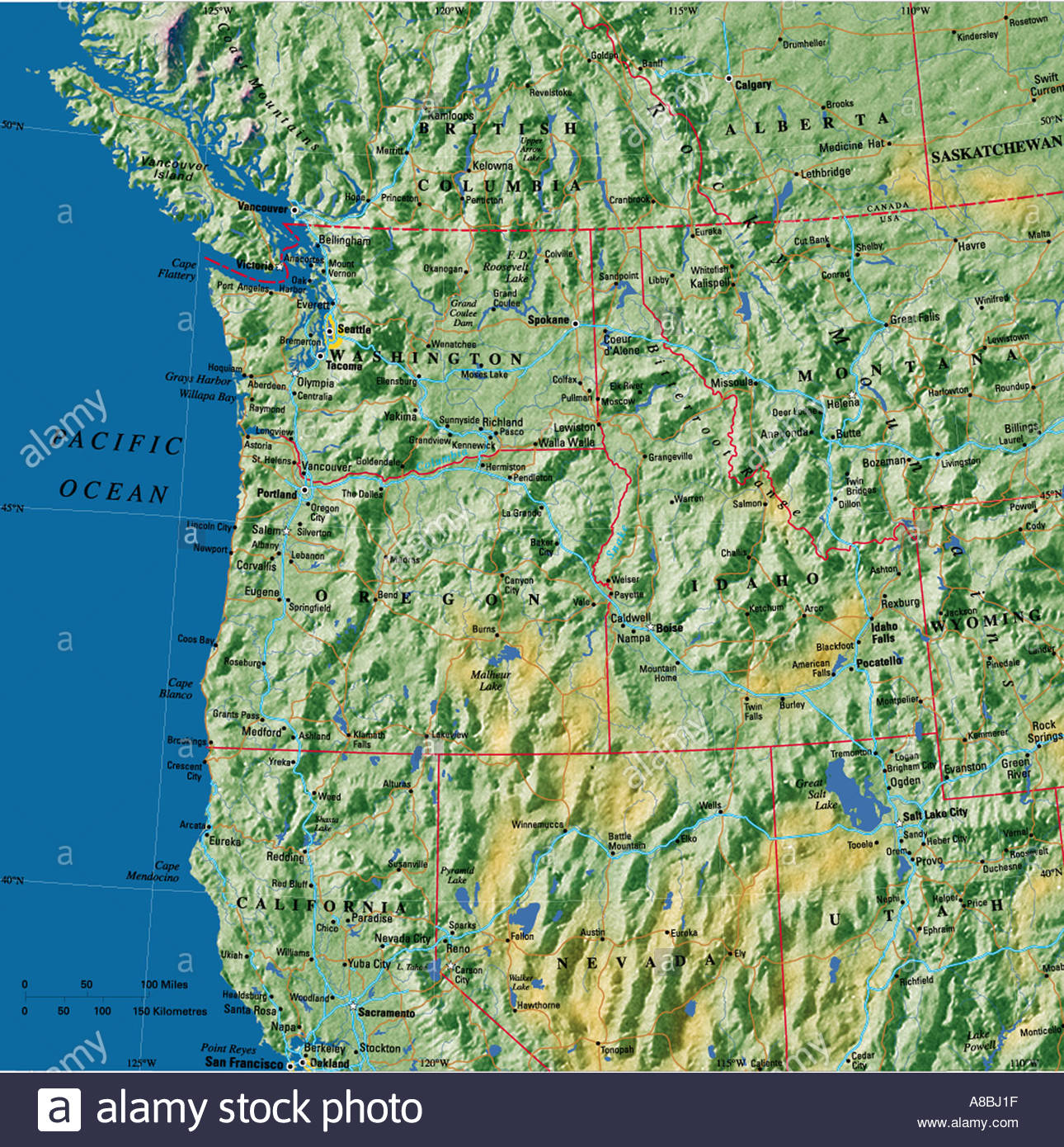 Map Maps Usa California Oregon Washington State East Coast Abjf - Washington Oregon California Coast Map