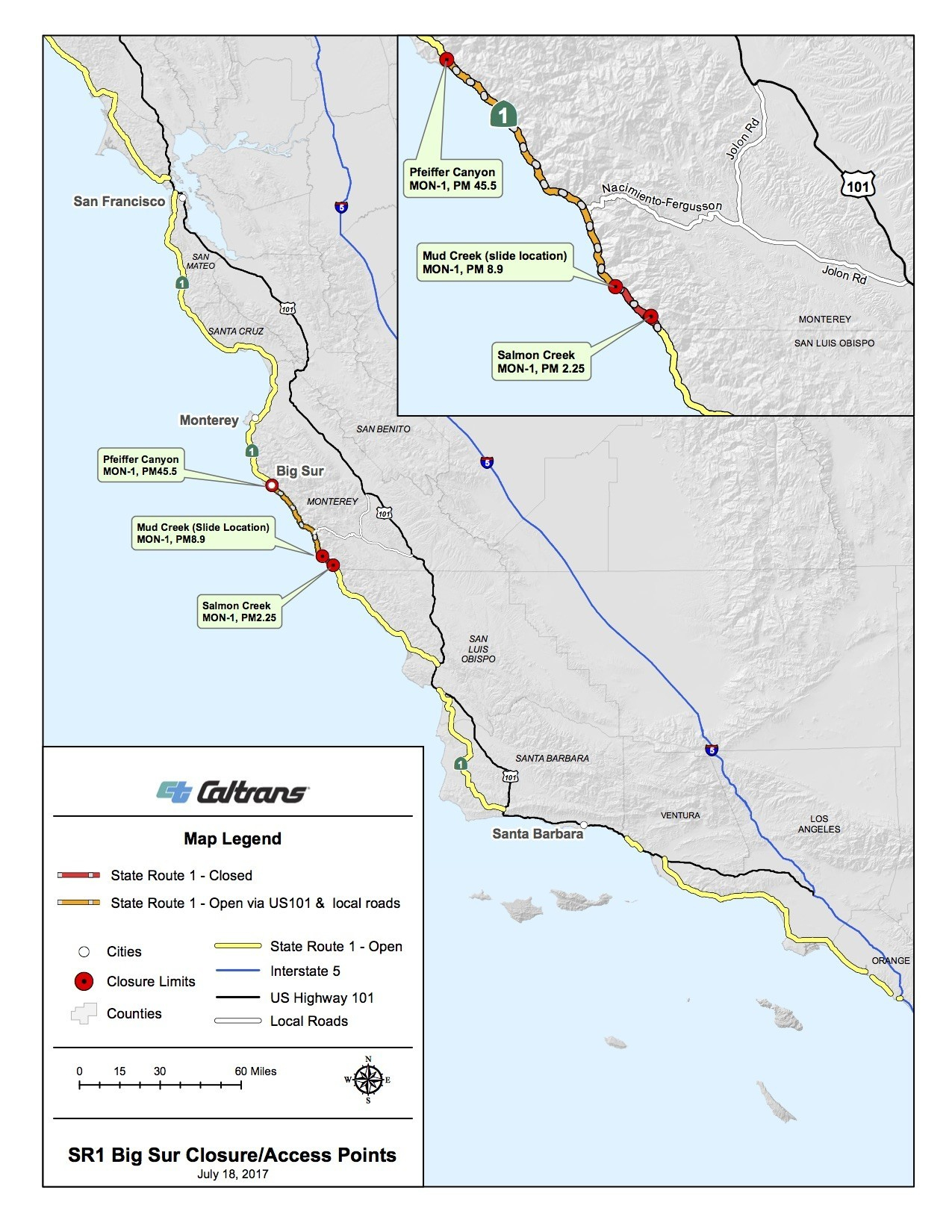 Map New Of California Highway Closures Map - Klipy - California Highway 1 Closure Map