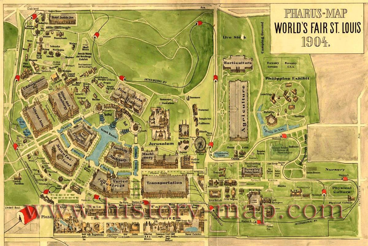 Map Of 1904 World's Fair Attractions In Forest Park. St. Louis, Mo - Forest Park St Louis Map Printable