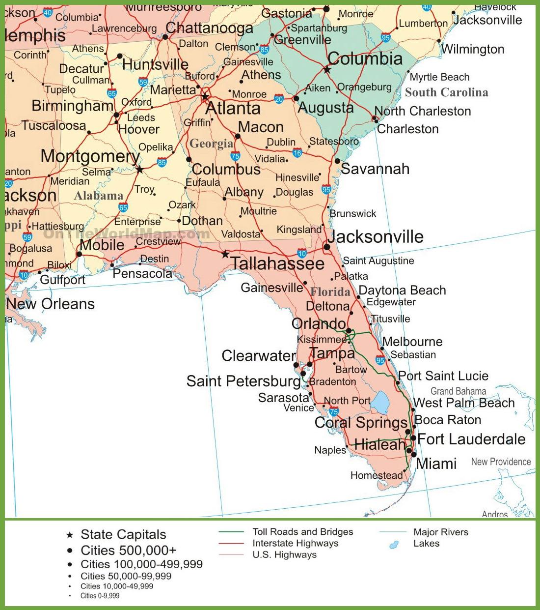 Map Of Alabama, Georgia And Florida - Show Sarasota Florida On A Map