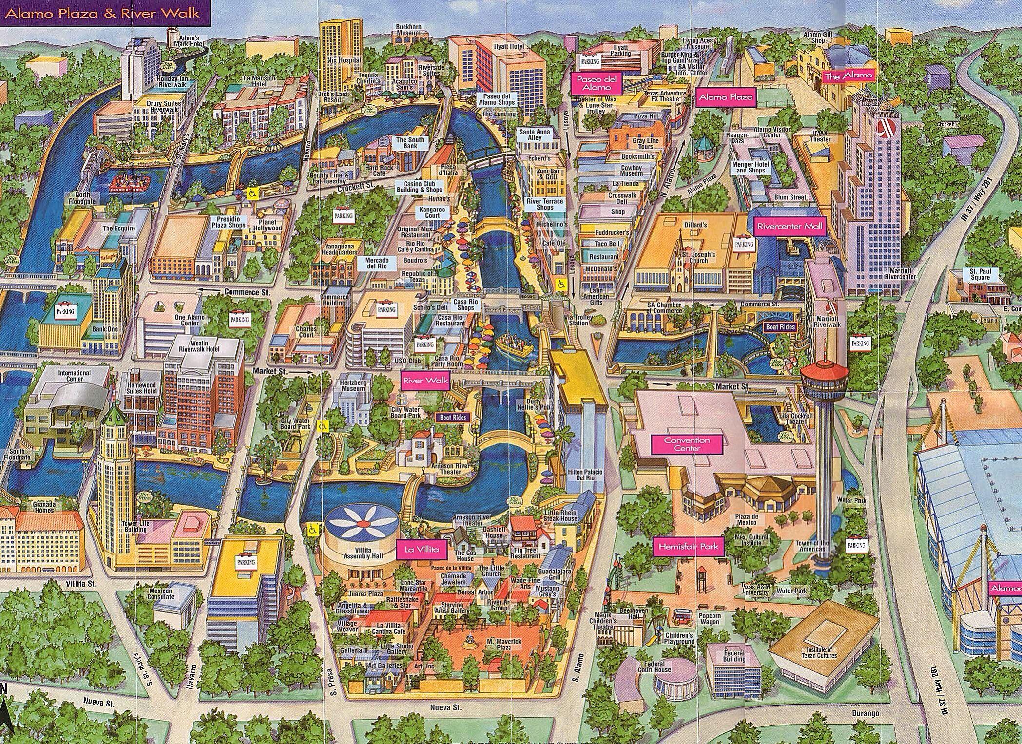 Map Of Alamo Plaza & River Walk | San Antonio, Tx | Www.mappery - Map Of The Alamo San Antonio Texas
