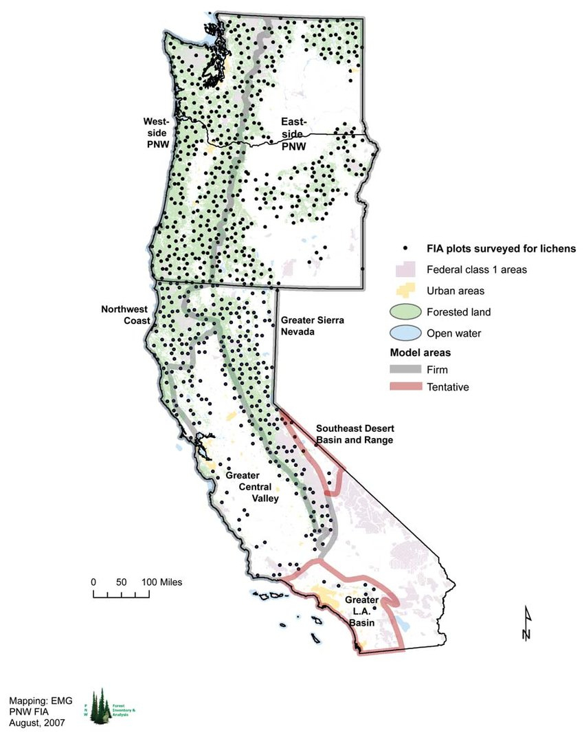 Map Of All Sites In Washington, Oregon, And California Surveyed For - California Oregon Washington Map