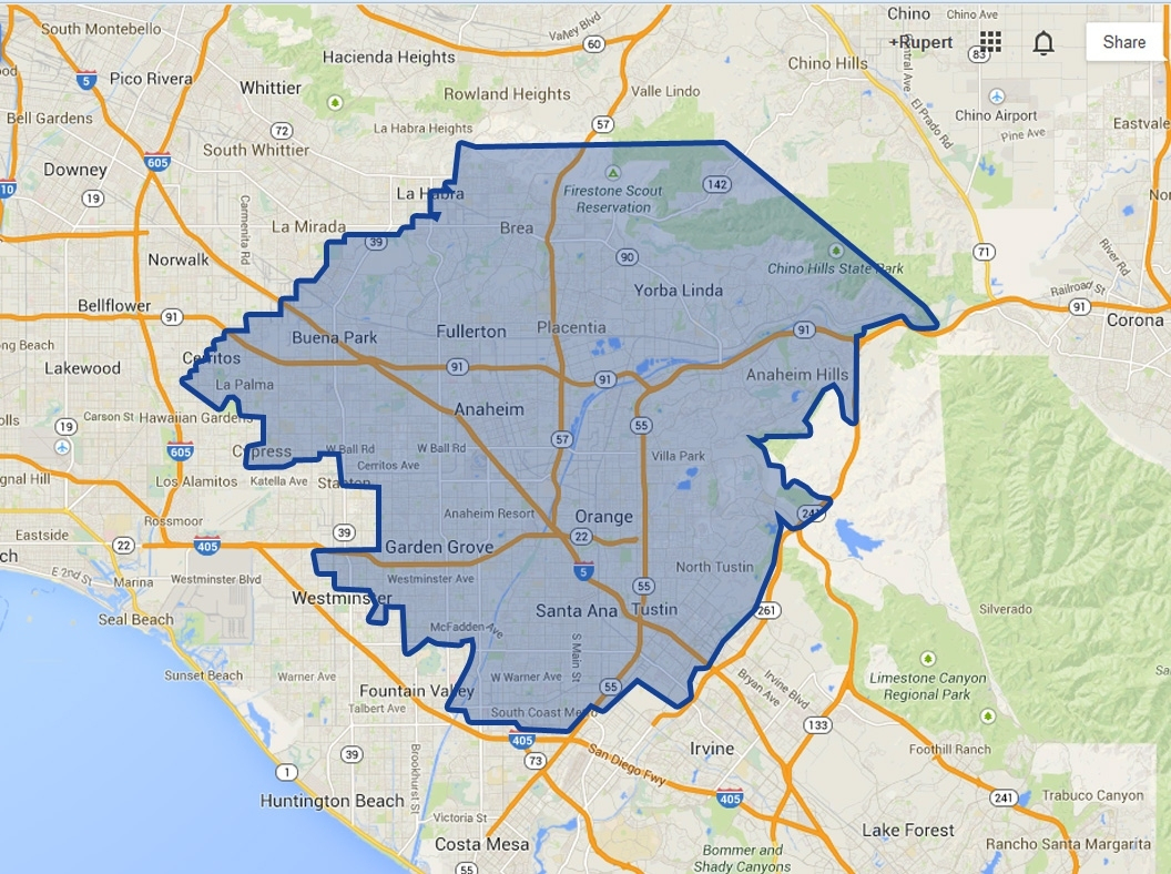 Map Of Anaheim California – Touran With Map Anaheim California - Map Of Anaheim California And Surrounding Areas