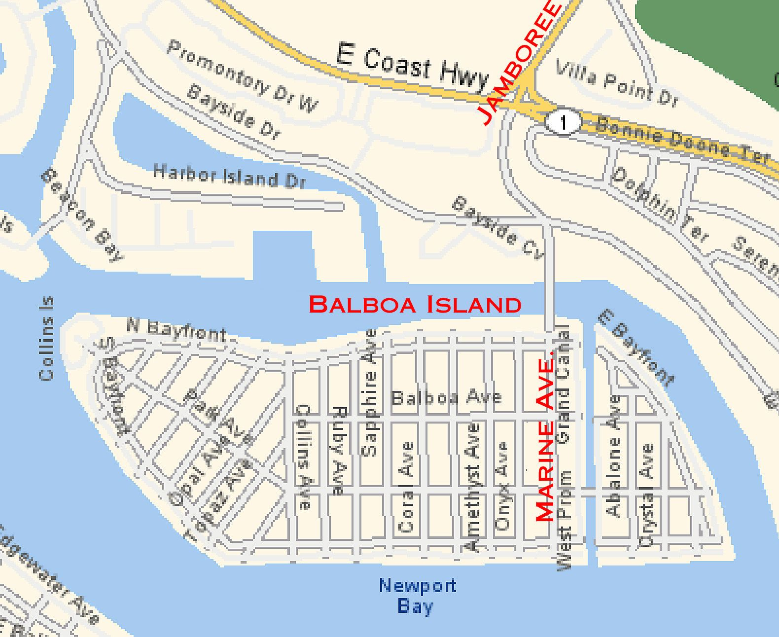 Map Of Balboa Island | Balboa Island And Misc Info | Pinterest - Newport California Map