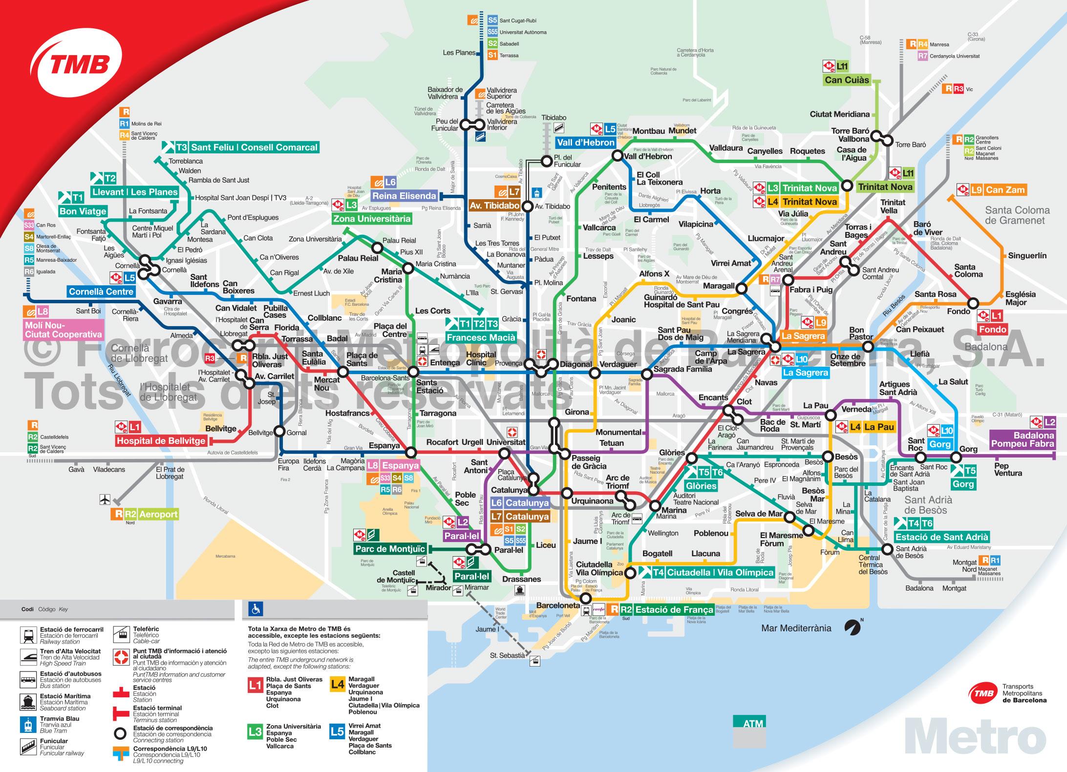 Map Of Barcelona Subway, Underground & Tube (Metro): Stations & Lines - Metro Map Barcelona Printable