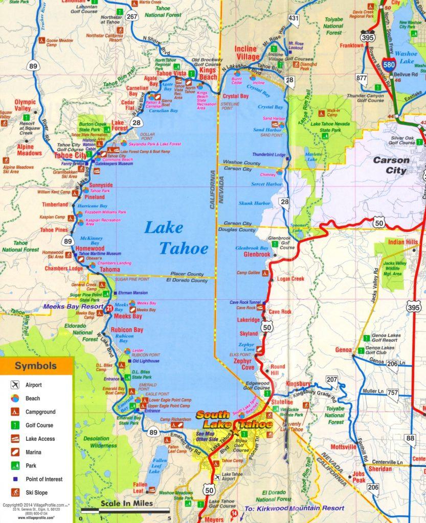 Map Of California Lake Tahoe - Klipy - Map Of Lake Tahoe Area California