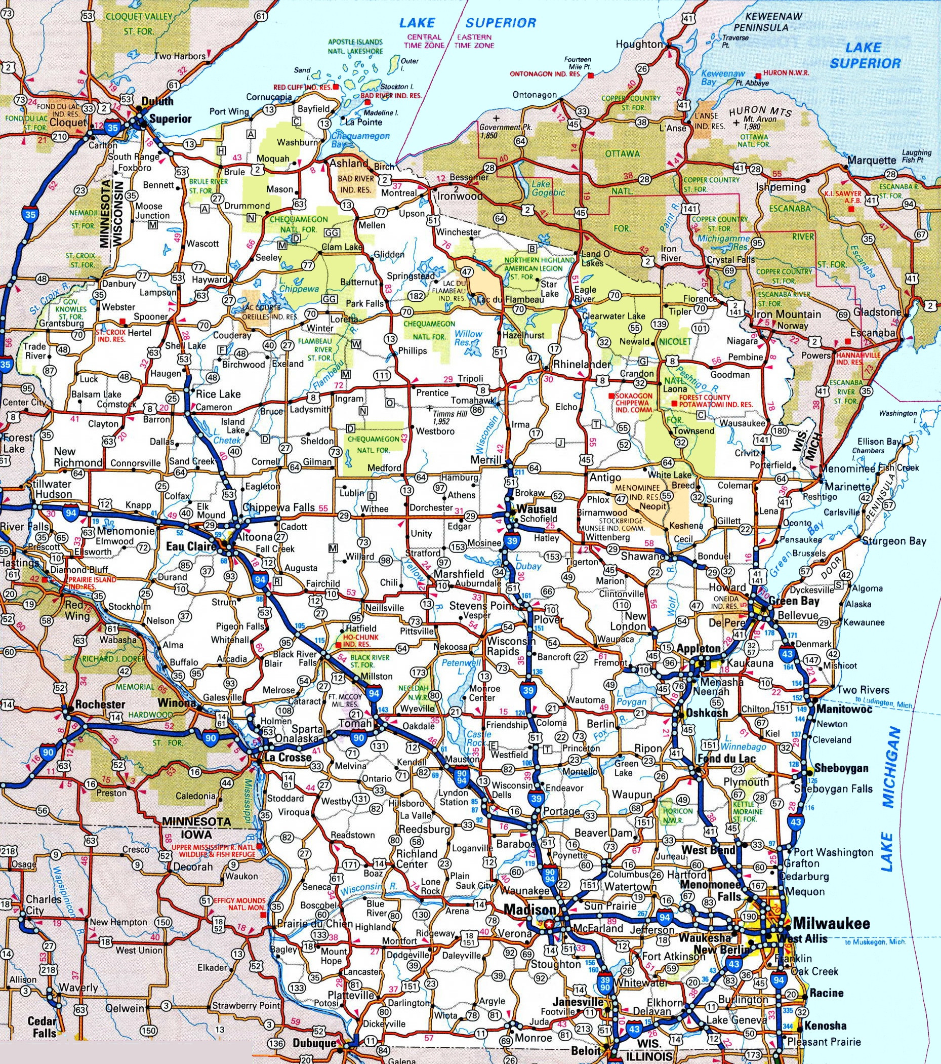 Map Of California Oregon And Washington Printable Wisconsin Road Map - California Oregon Washington Road Map