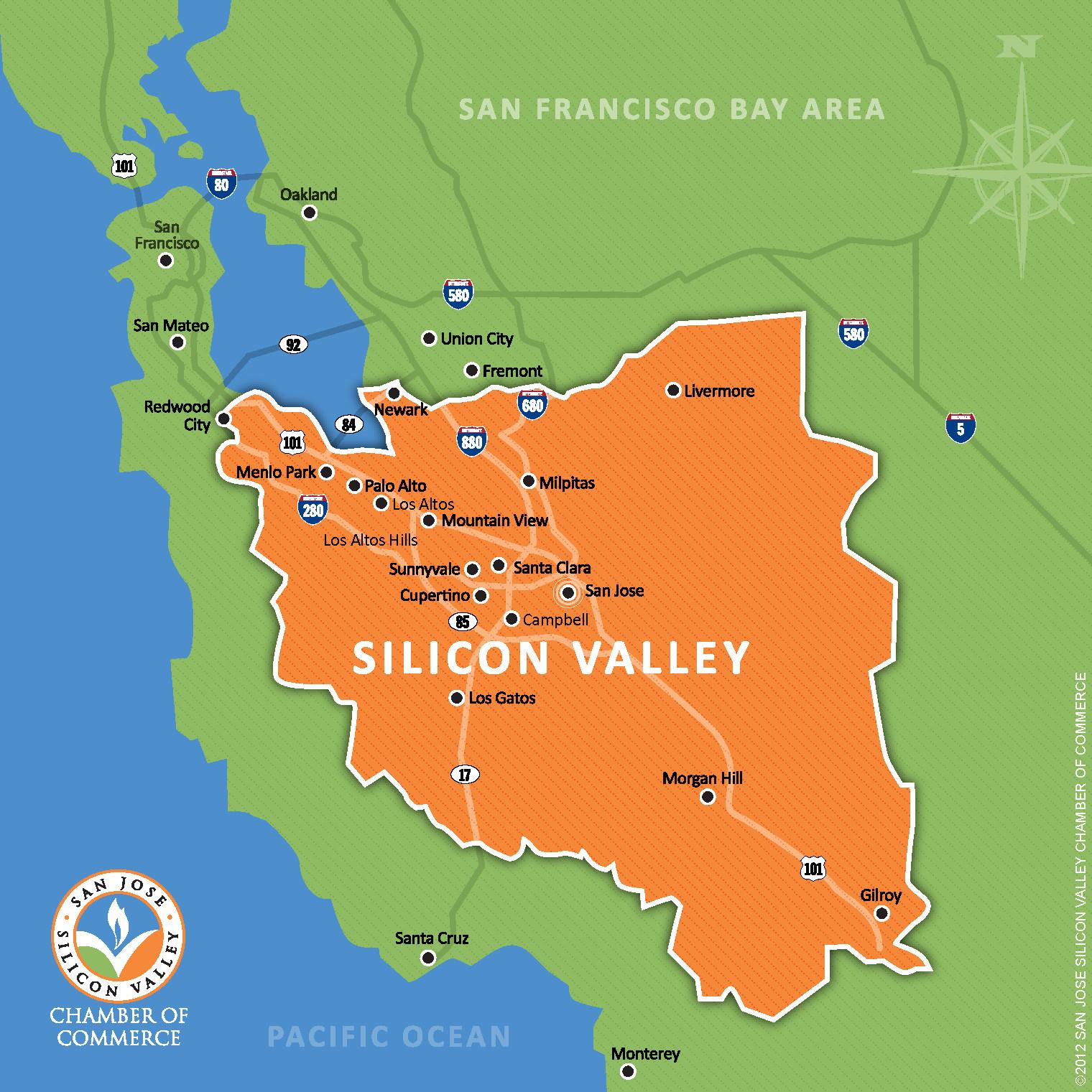 Map Of California Silicon Valley Printable Maps Silicon Valley On Us - Campbell California Map