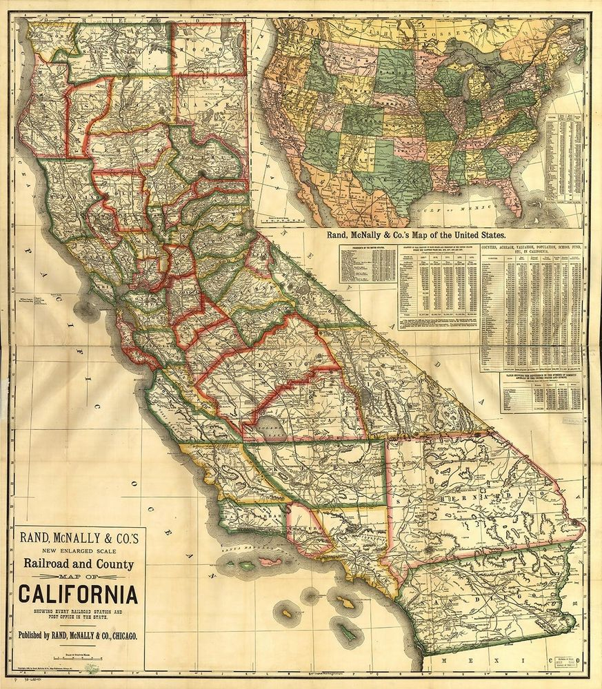Map Of California Vintage State Map Rolled Giclee Canvas Art Print - Vintage California Map