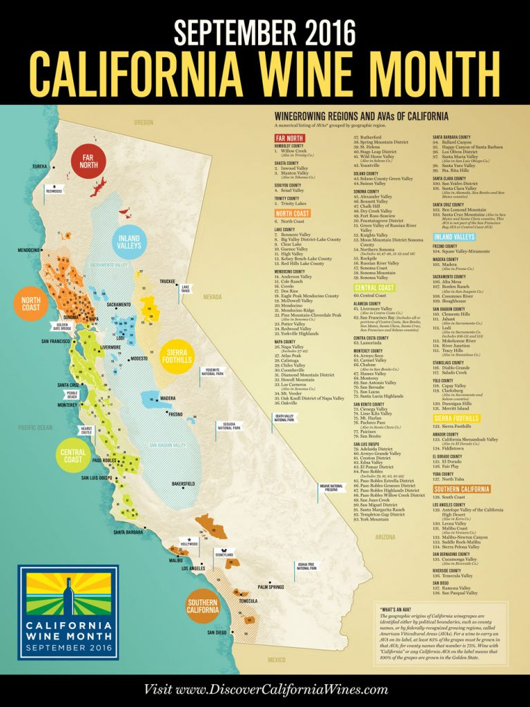 Map Of California Wine Country Regions - Klipy - California Wine Map Poster