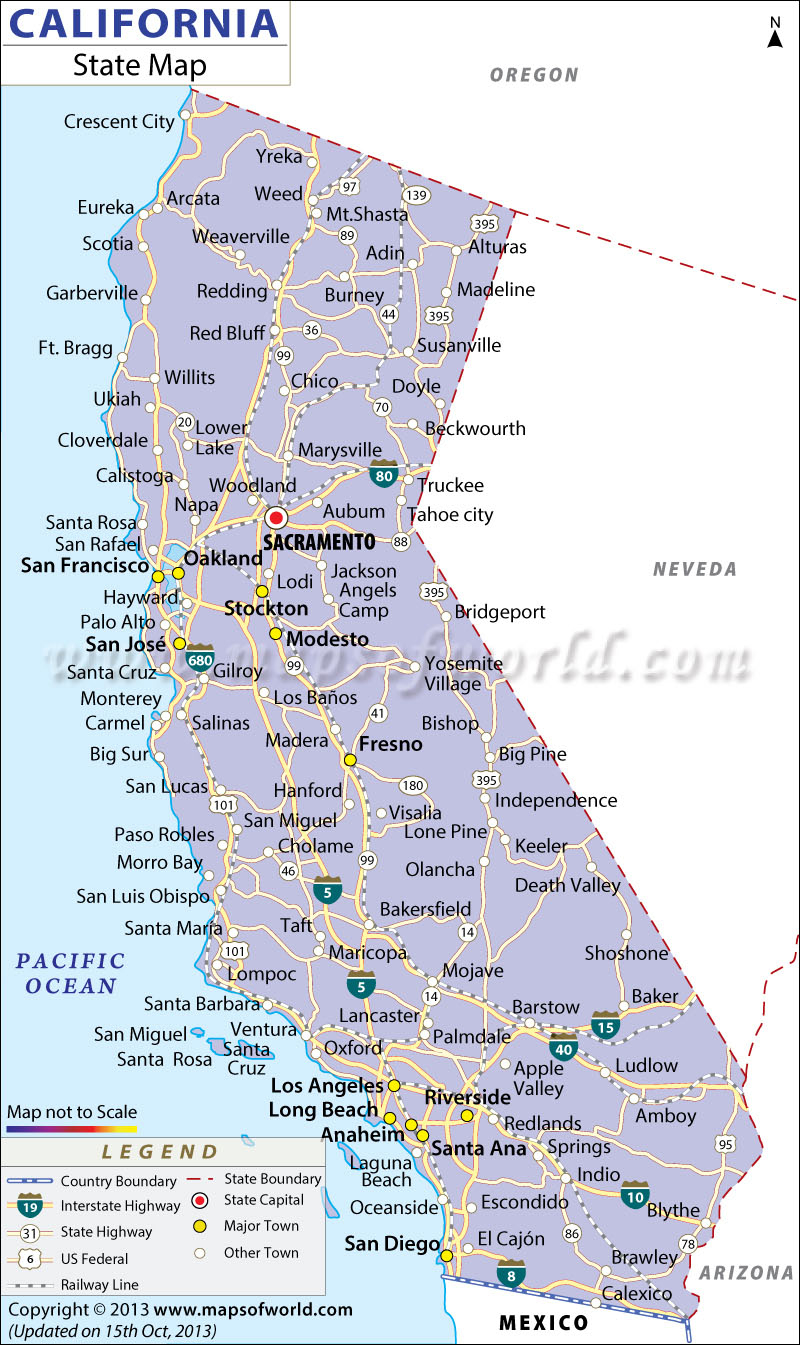 Map Of California With Cities California Map With Cities Northern - California Coastal Towns Map