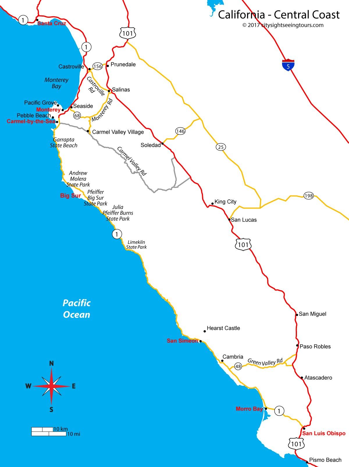 Map Of California's Central Coast - Big Sur, Carmel, Monterey - Monterey Beach California Map