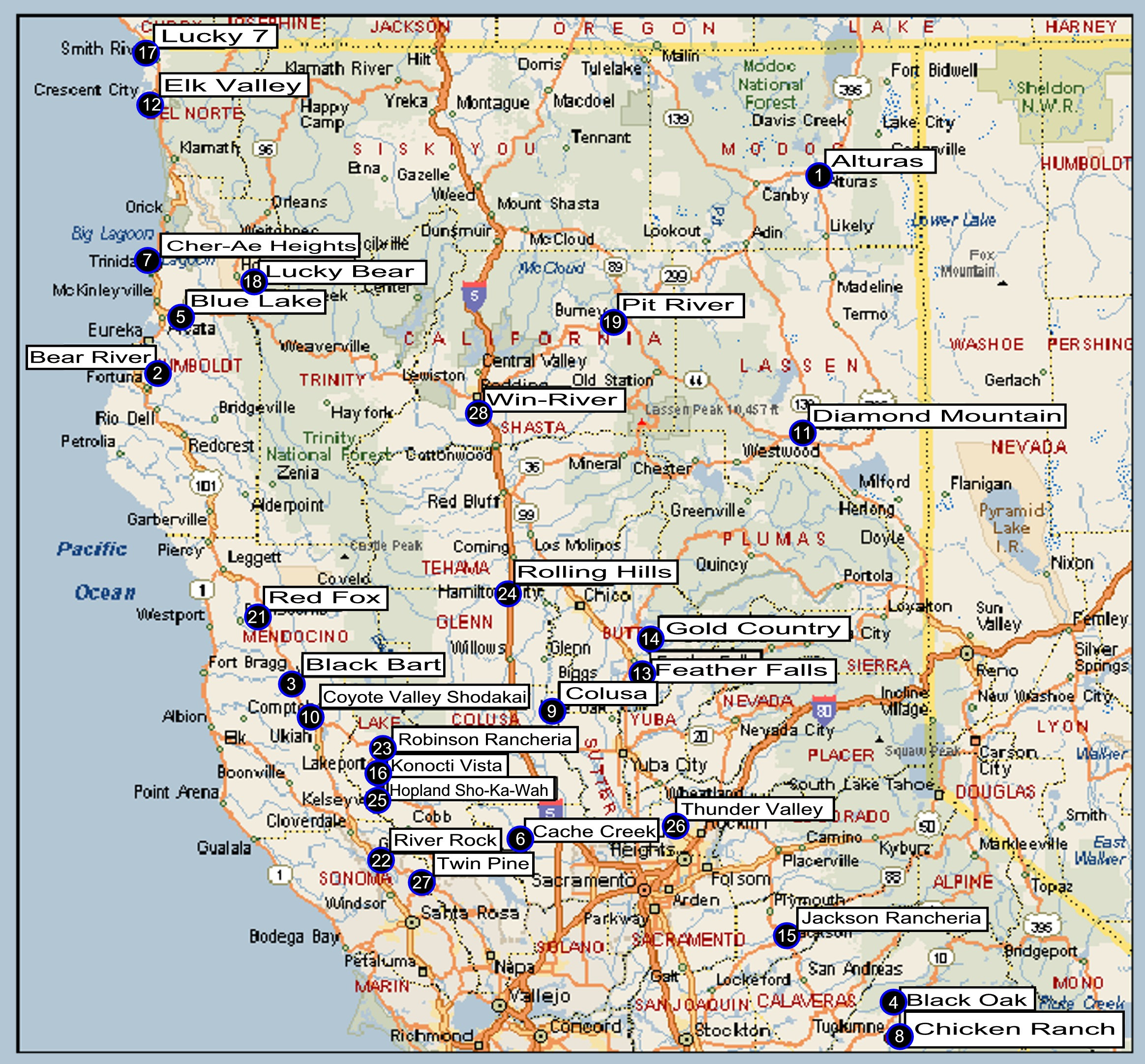 Map Of Casinos In Southern California Northern California Regional - Map Of Casinos In Southern California