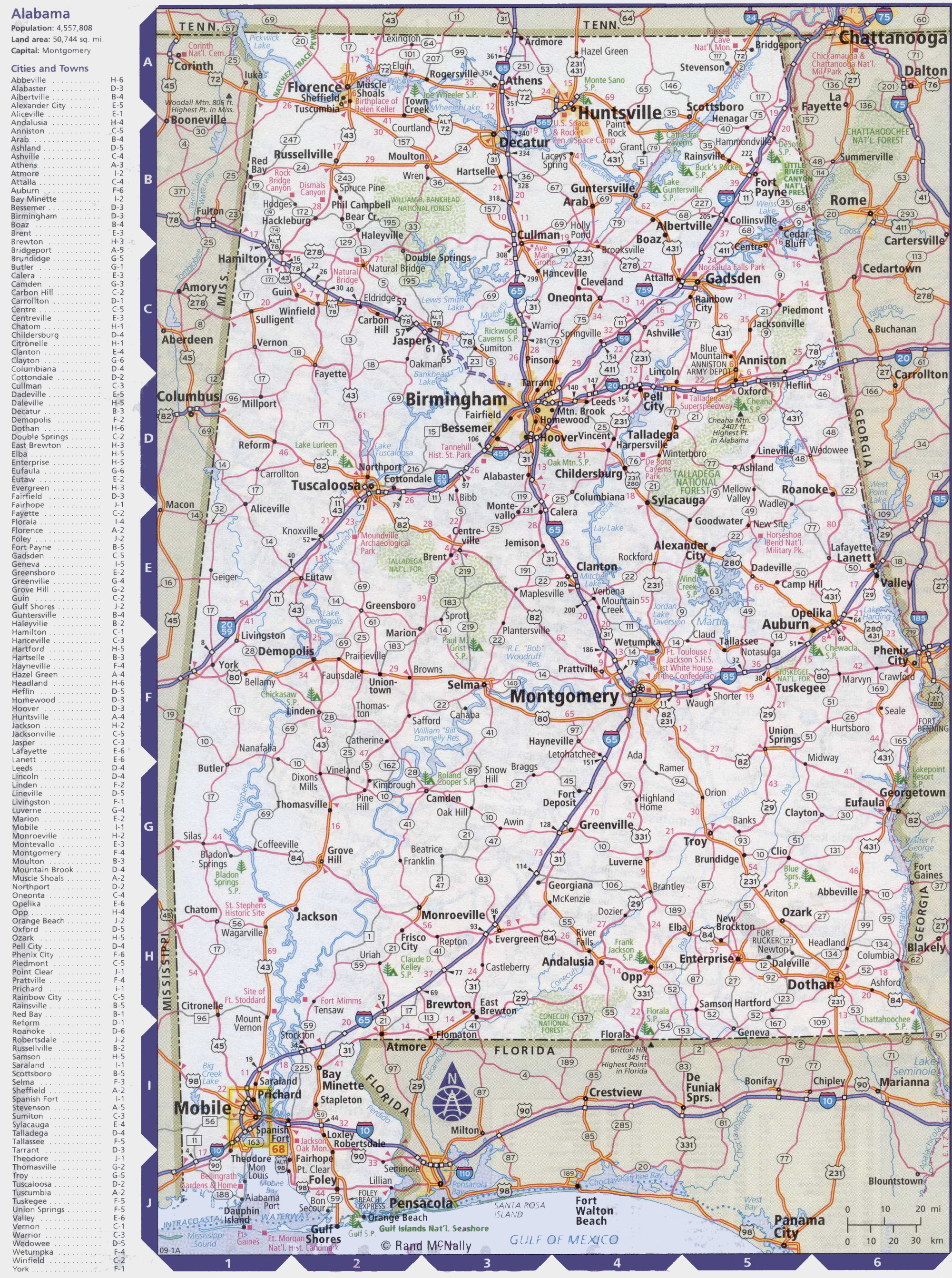 Map Of Central Florida Cities And Towns And Travel Information - Road Map Of Central Florida