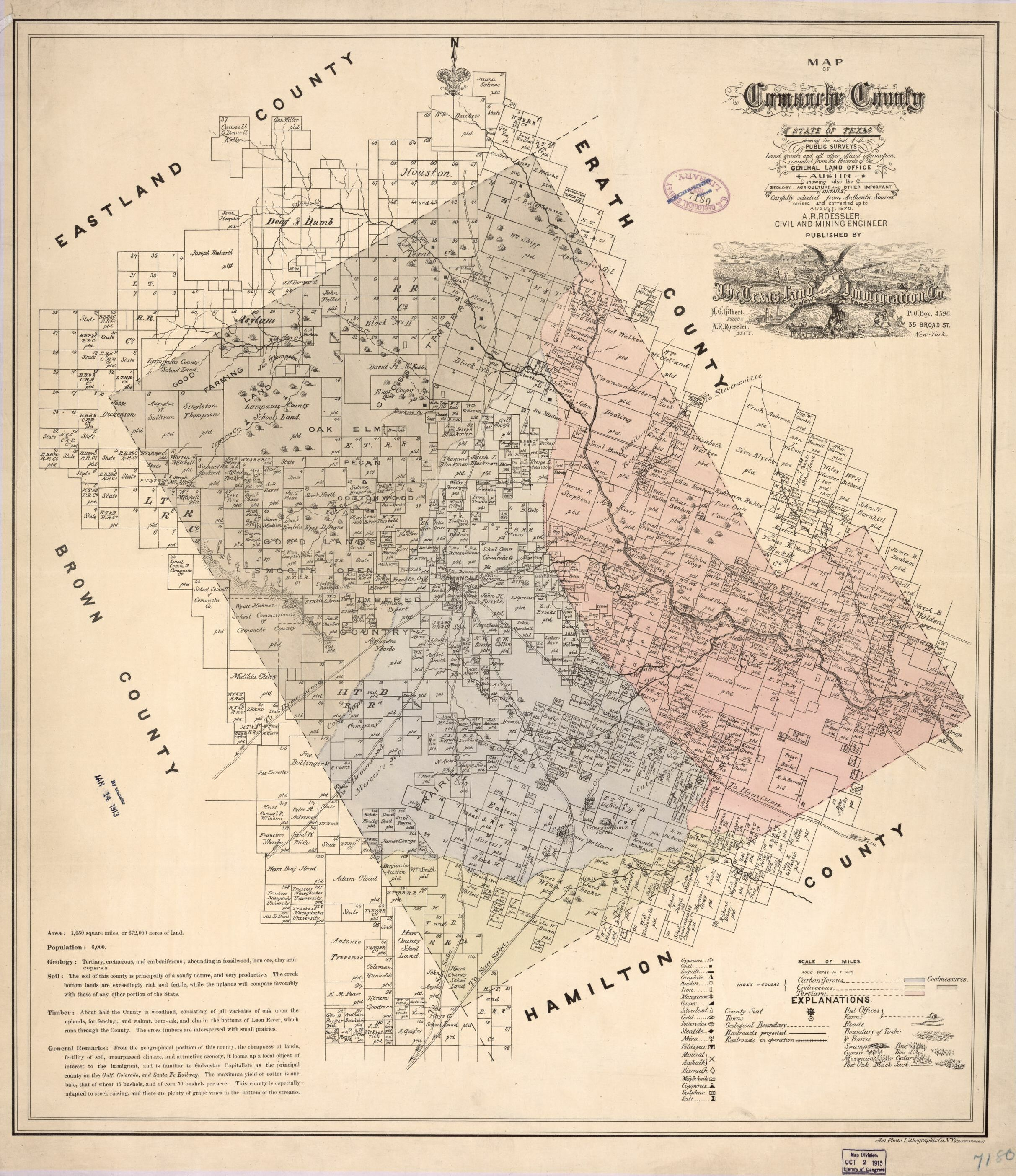 Map Of Comanche County : State Of Texas Showing The Extent Of All - Comanche County Texas Map