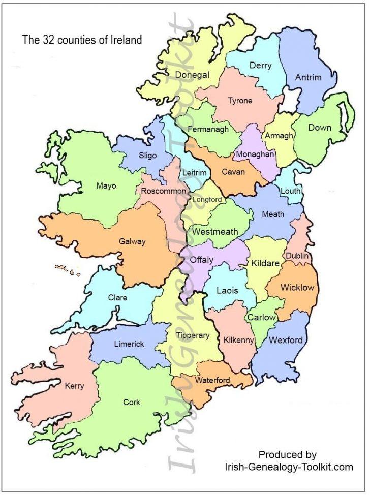 Large Printable Map Of Ireland