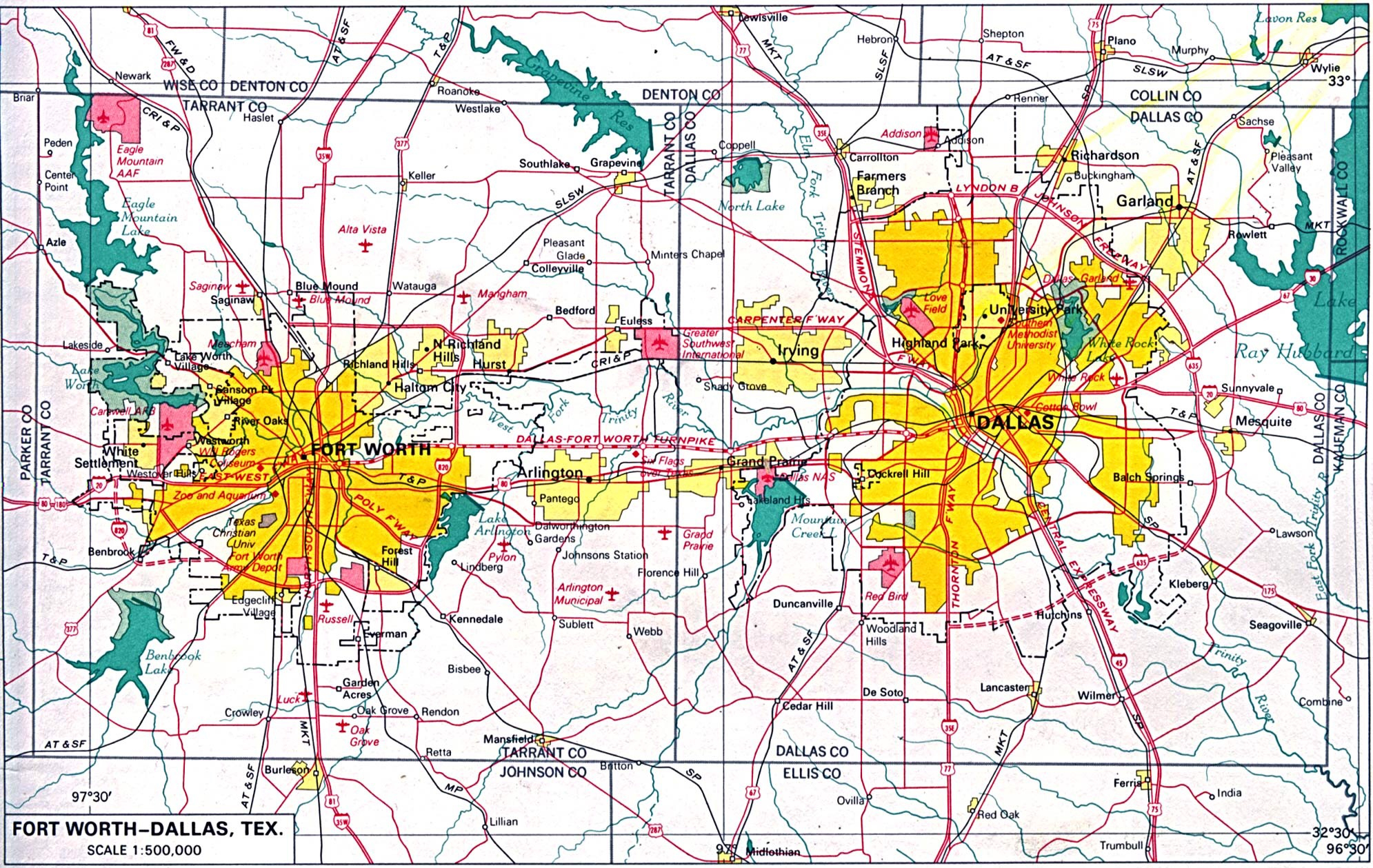 Map Of Dallas Tx Area And Travel Information | Download Free Map Of - Map Of Fort Worth Texas Area