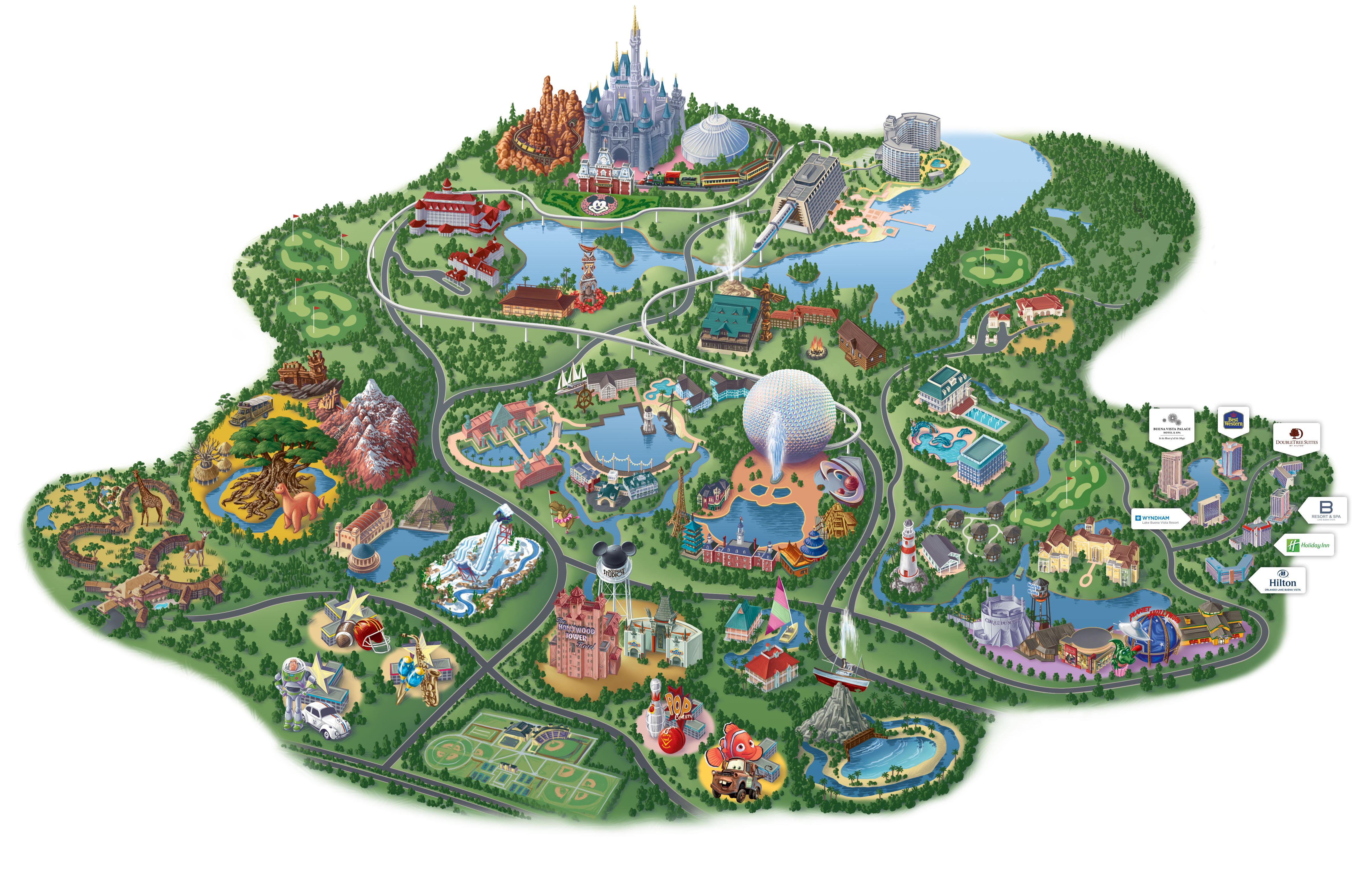 "Map Of Disney World Hotels And Theme Parks Disney Springsâ""¢ Area - Disney Hotels Florida Map"