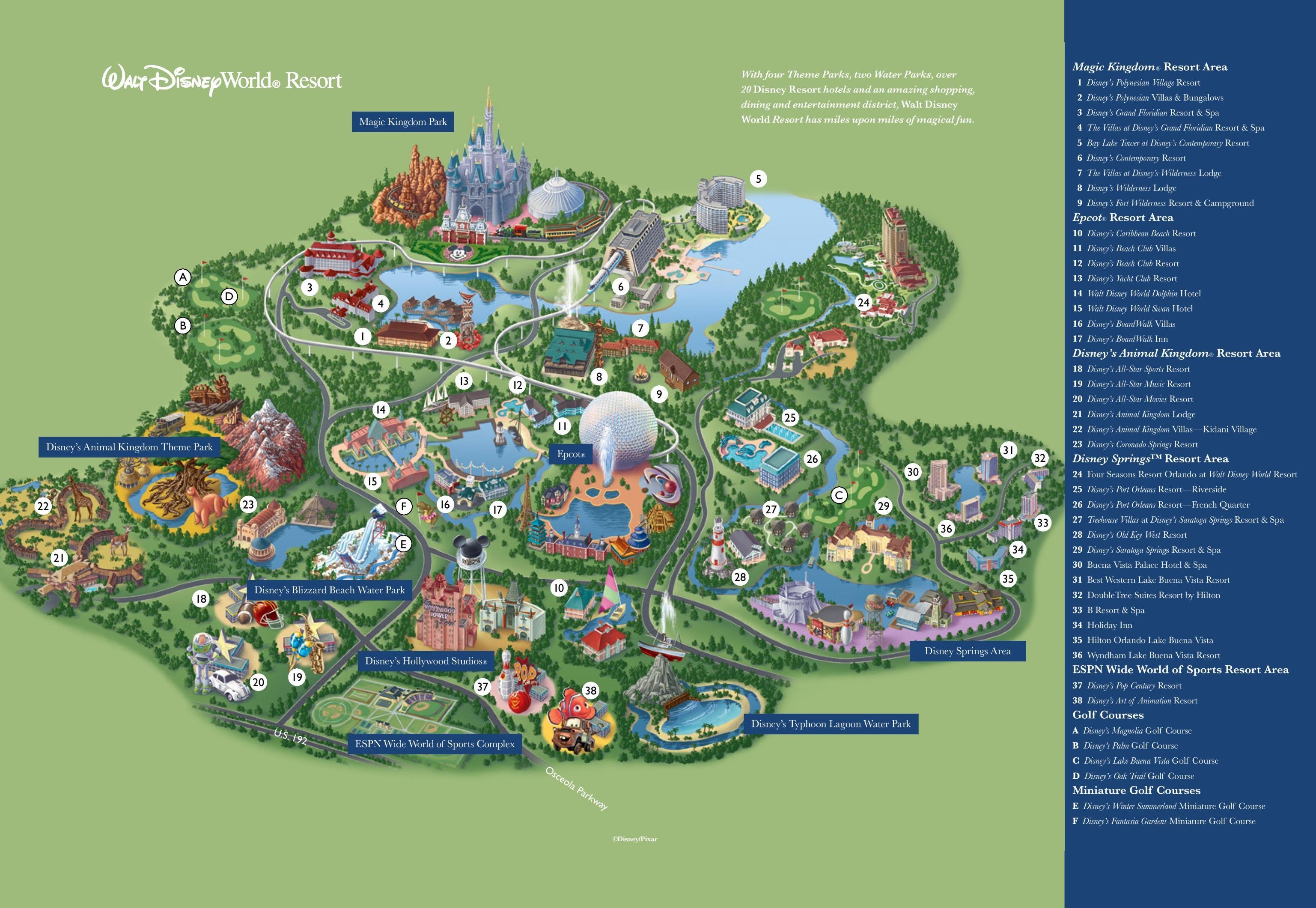 Map Of Disney World Resorts - Disney Resort Map Orlando (Florida - Usa) - Florida Resorts Map