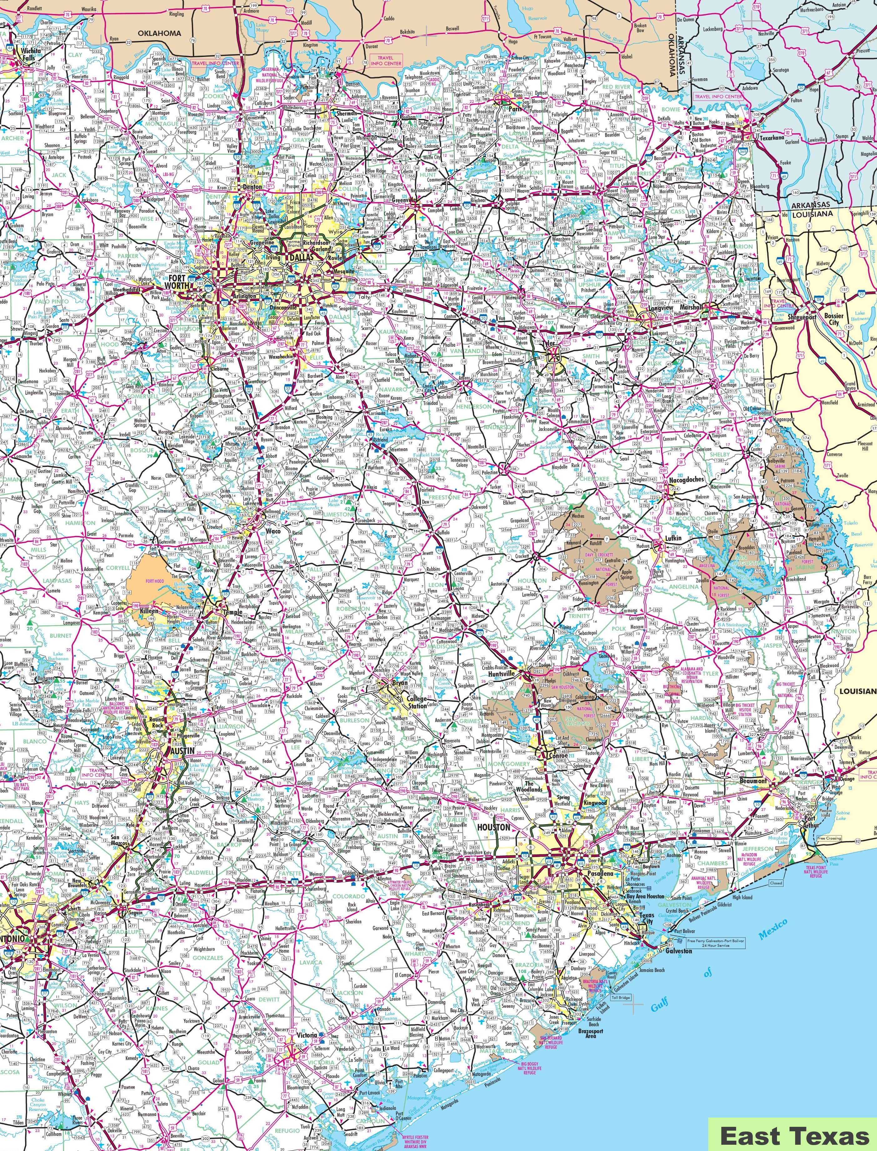 Map Of East Texas - Texas Map Print
