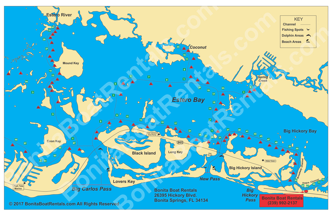 Map Of Estero Bay | Fishing Spots | Beaches | Bonita Boat Rentals - Estero Beach Florida Map