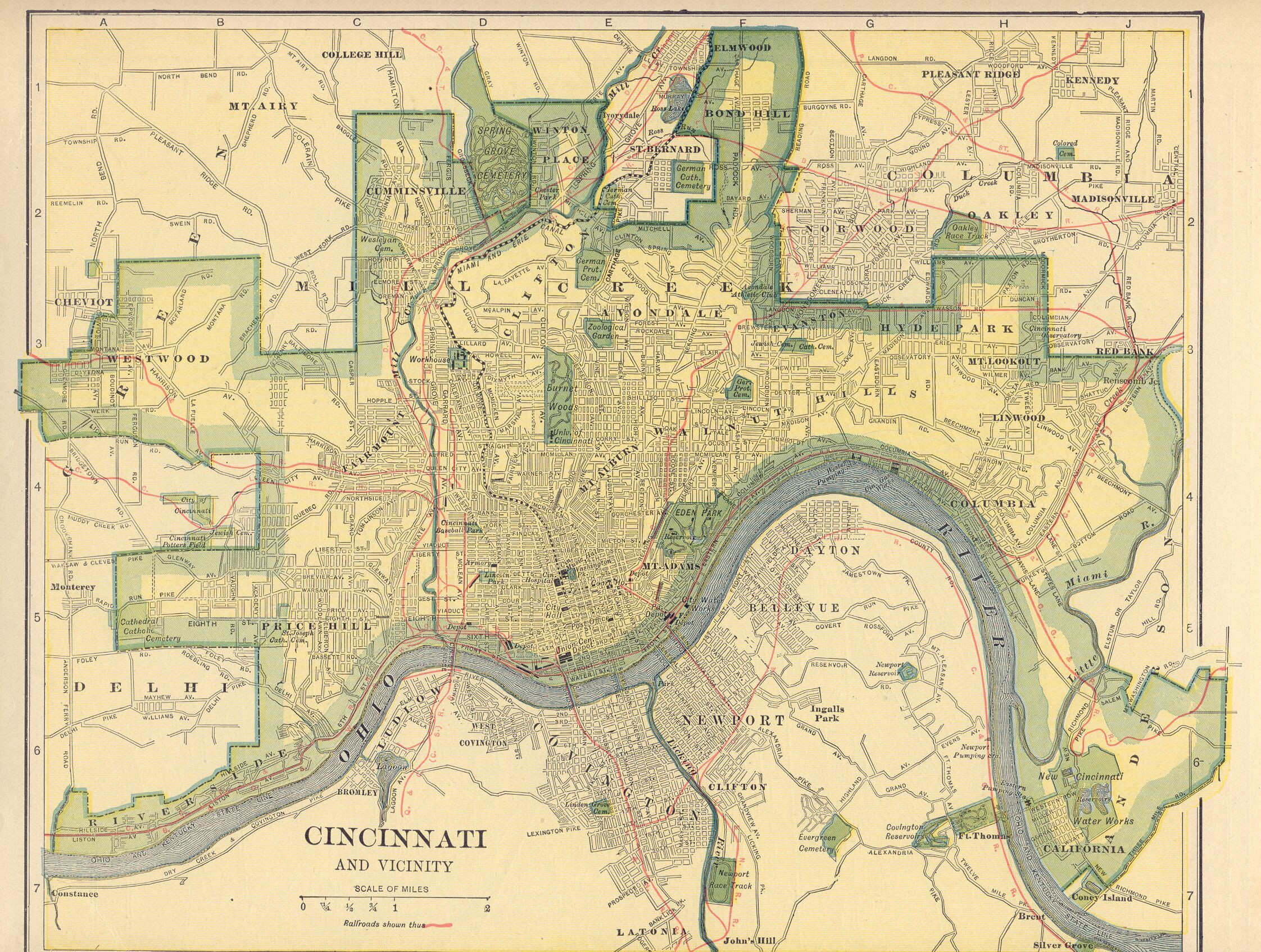Map Of Federal Prisons Printable Historic Map Of Cincinnati Ohio - Printable Cincinnati Map