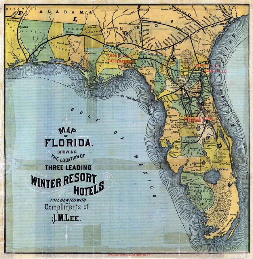 Map Of Florida: 3 Leading Winter Resort Hotels, 1885 - Florida Resorts Map