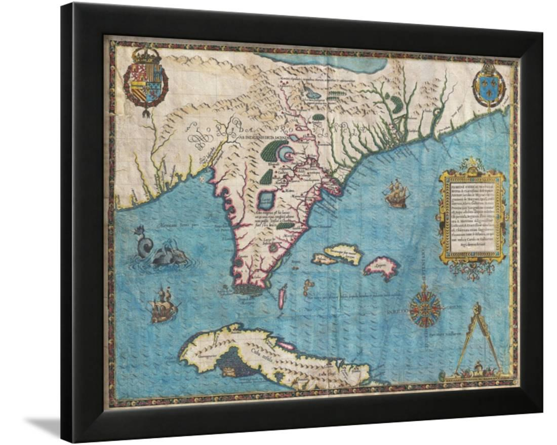 Map Of Florida And Cubajacques Le Moyne Framed Print Wall Art - Framed Map Of Florida