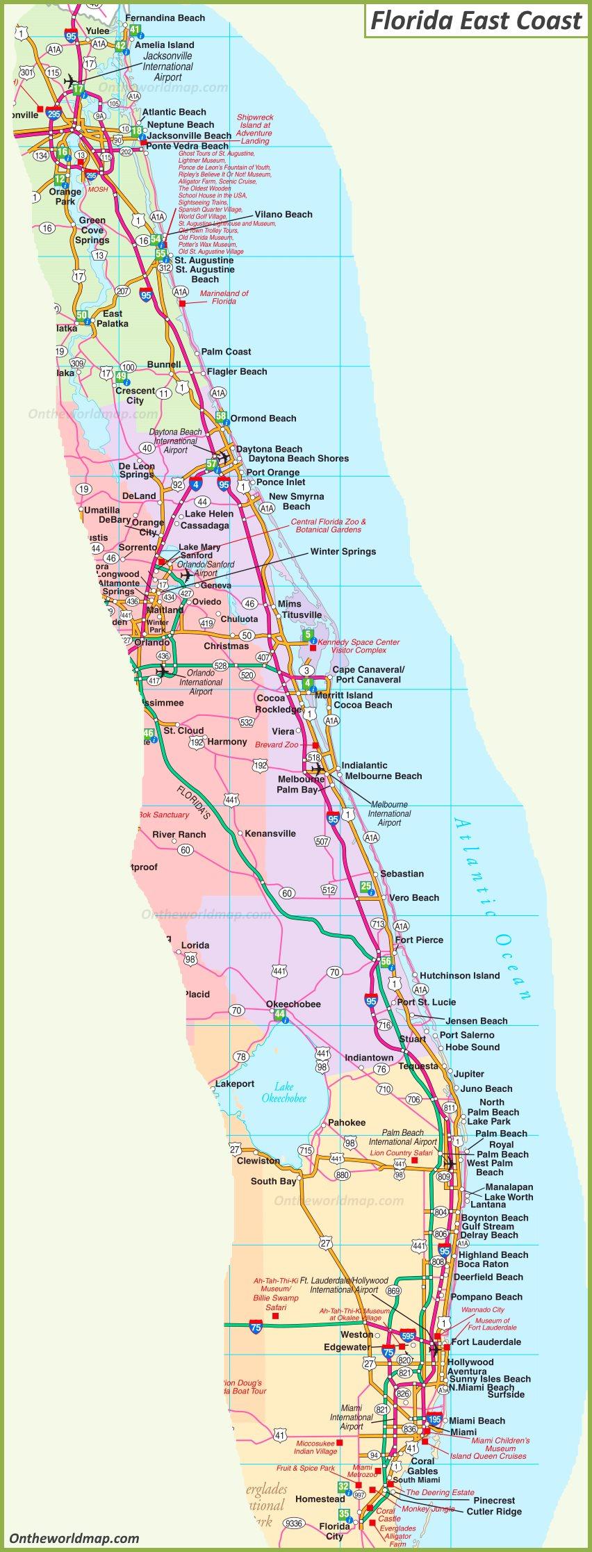 Map Of Florida East Coast - Map Of Florida East Coast
