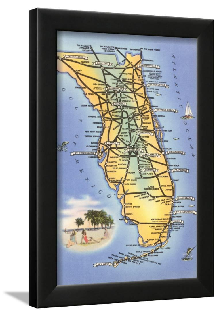 Map Of Florida Framed Print Wall Art - Walmart - Framed Map Of Florida