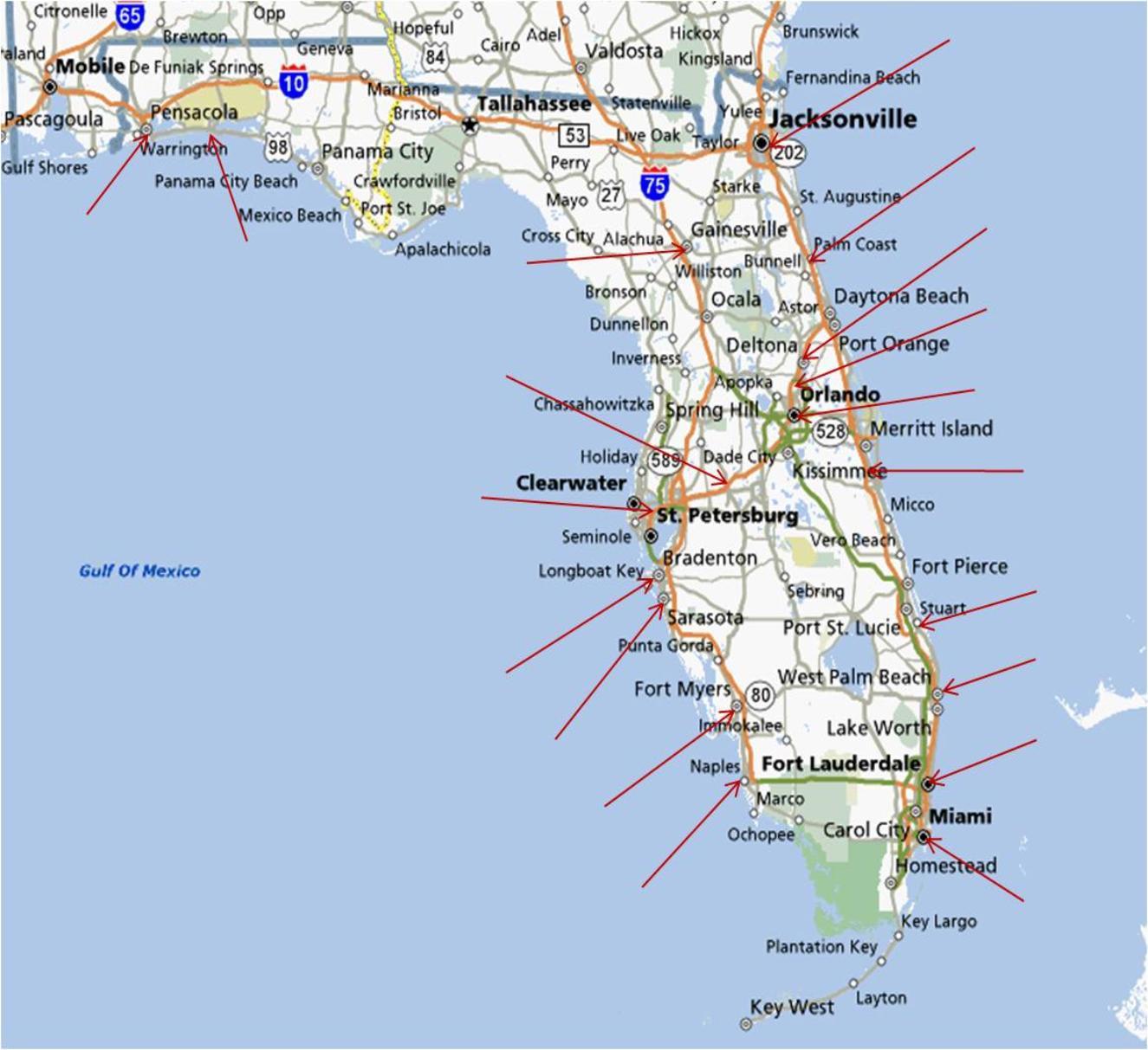 Map Of Florida Running Stores - Lithia Florida Map