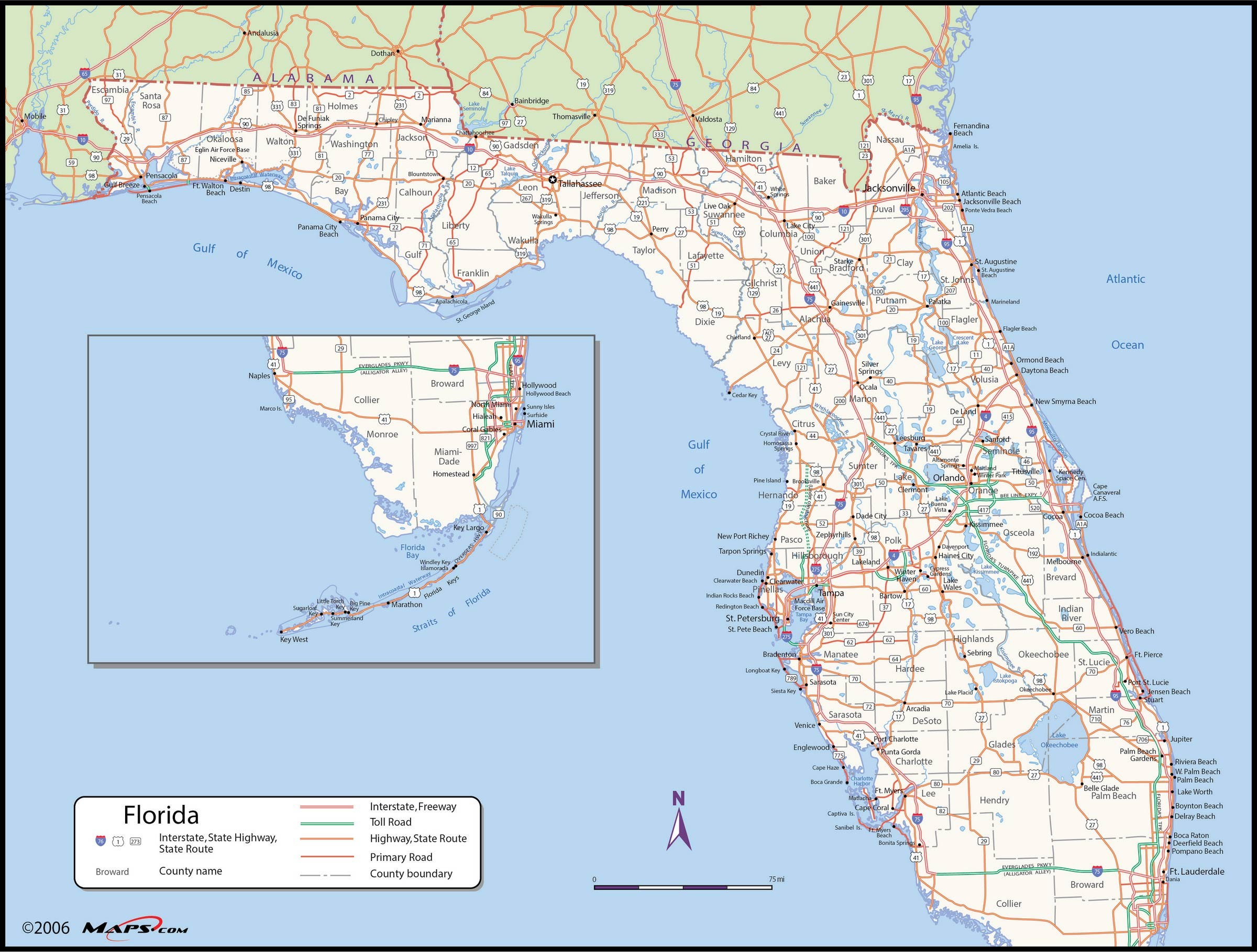 Map Of Florida State - Maps - Florida Wall Map