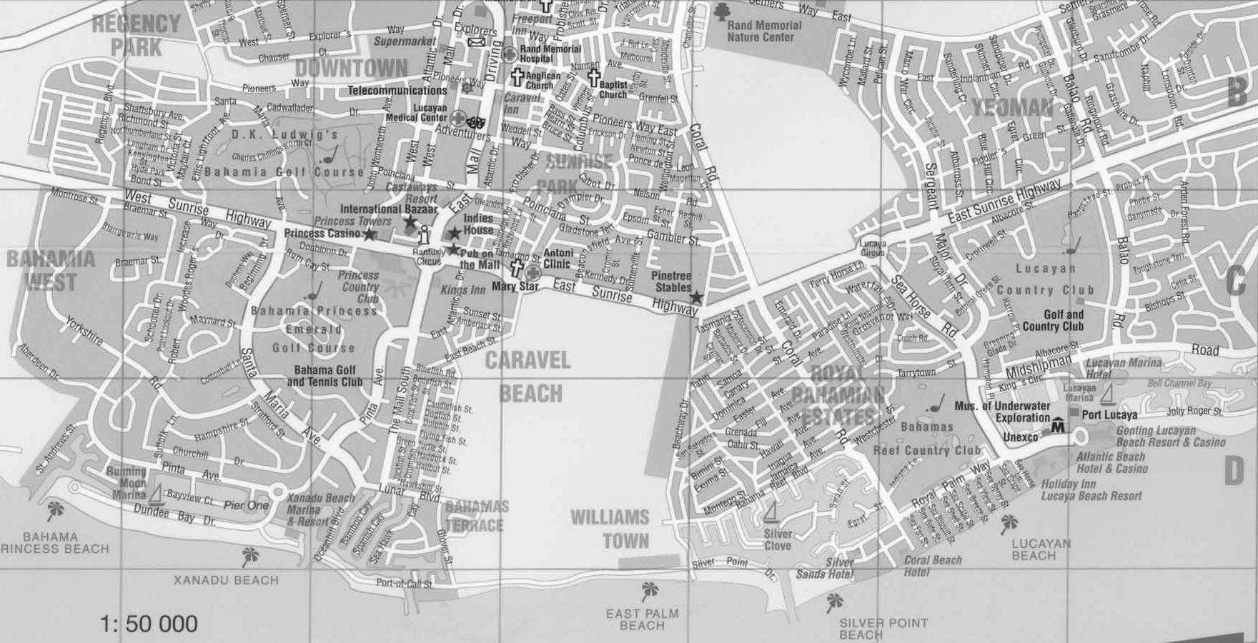 Map Of Freeport/lucaya, Grand Bahama Island, Bahamas (Street Map - Map Of Florida And Freeport Bahamas