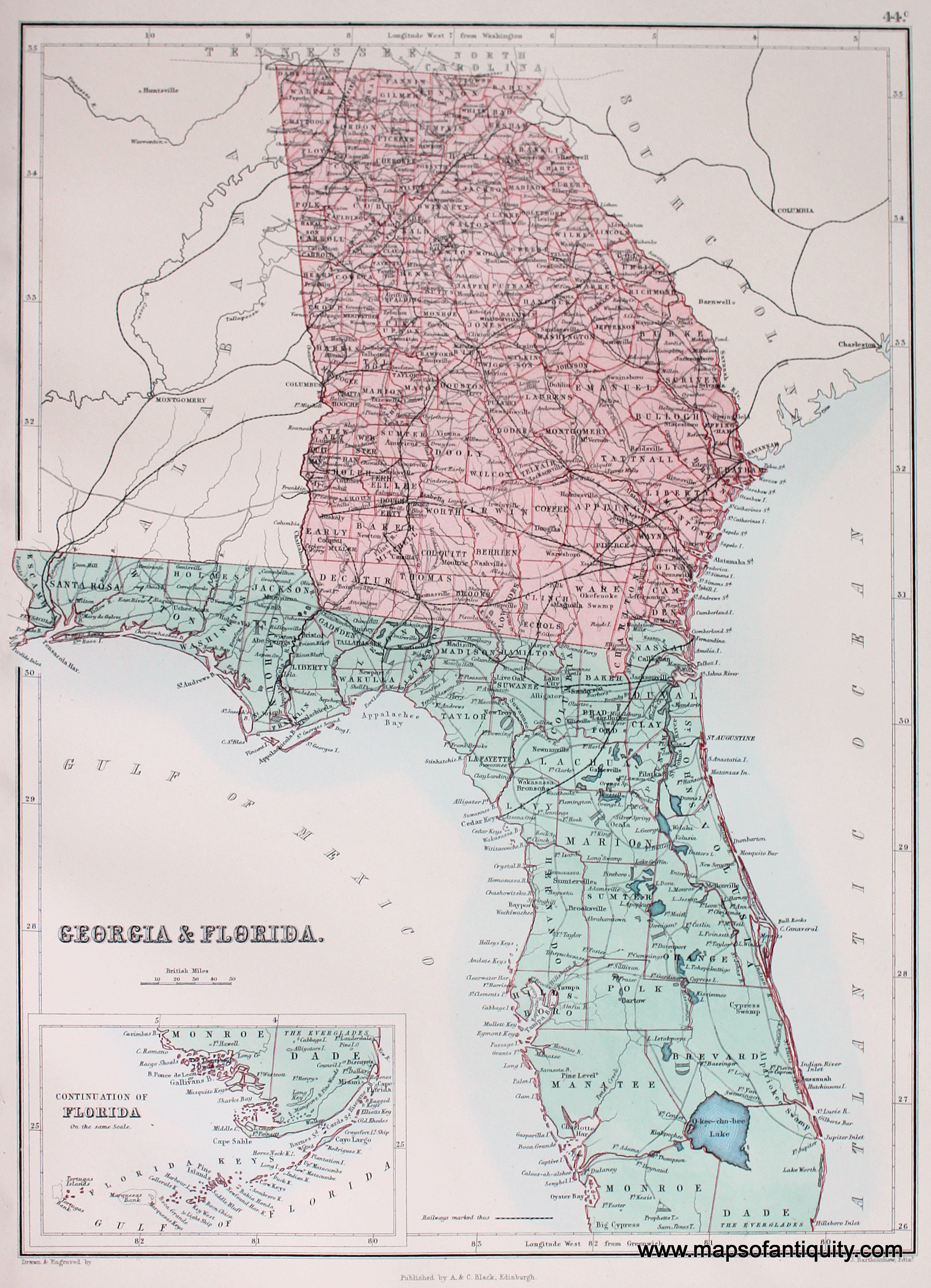 Map Of Georgia Florida Line And Travel Information | Download Free - Map Of Georgia And Florida