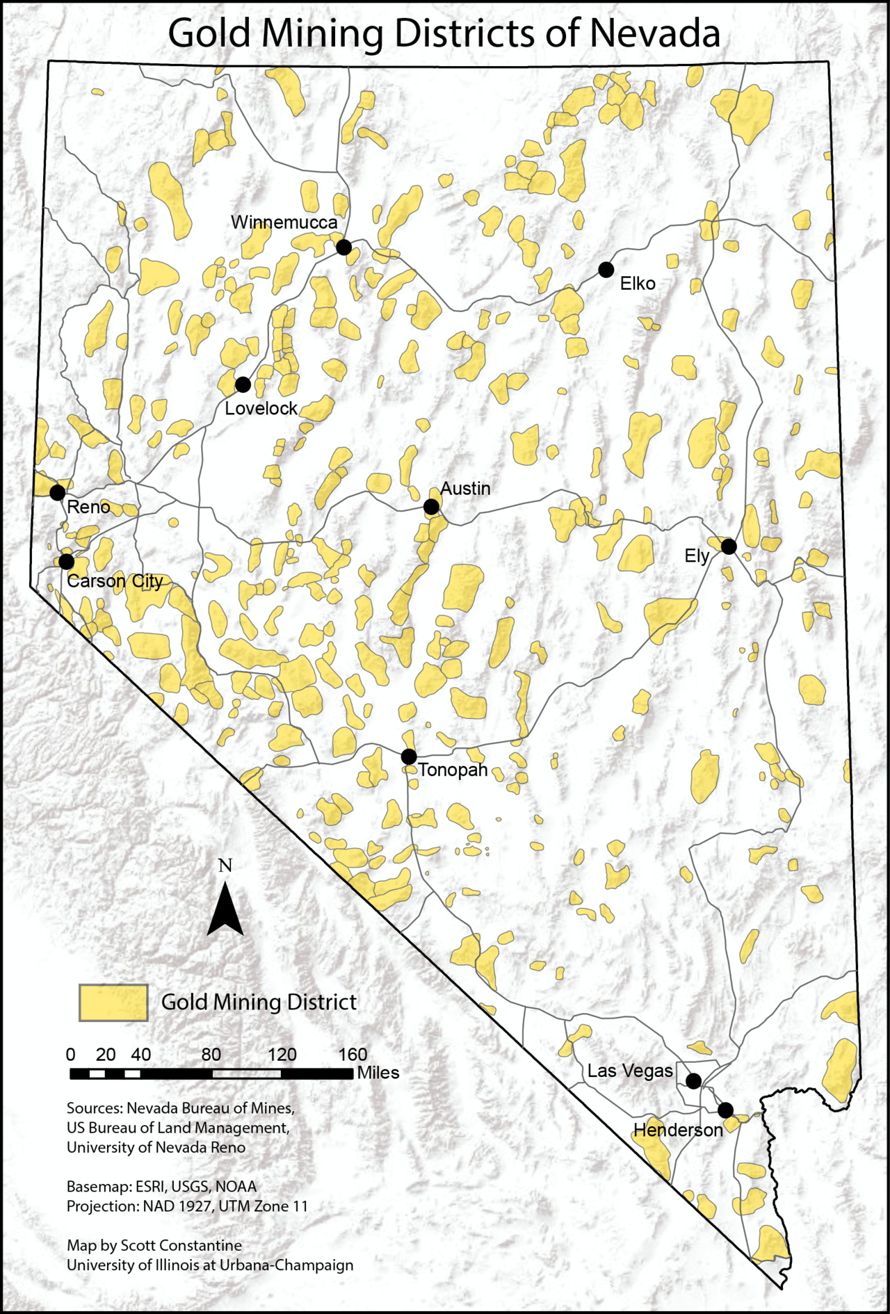 Map Of Gold Mining Districts Of Nevada, According To Nevada Bureau - California Gold Prospecting Map