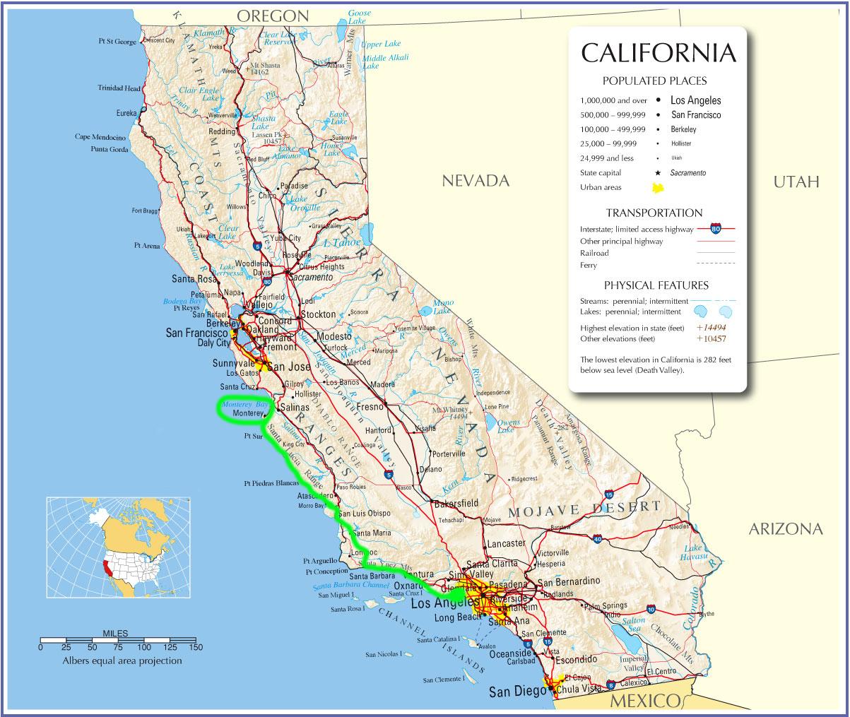 Map Of Highway 1 In California - Klipy - Route 1 California Map